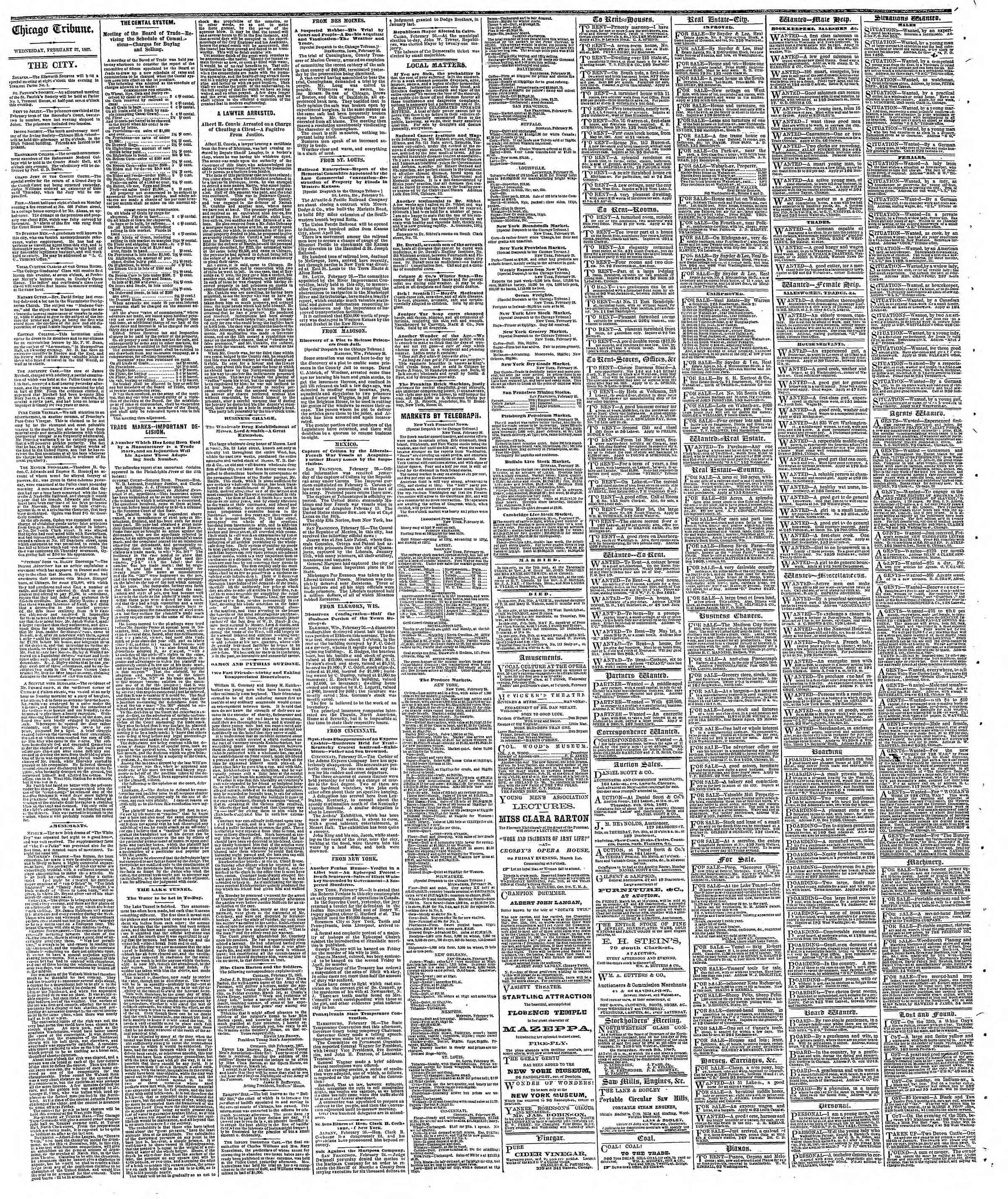 Newspaper of The Chicago Tribune dated February 27, 1867 Page 4