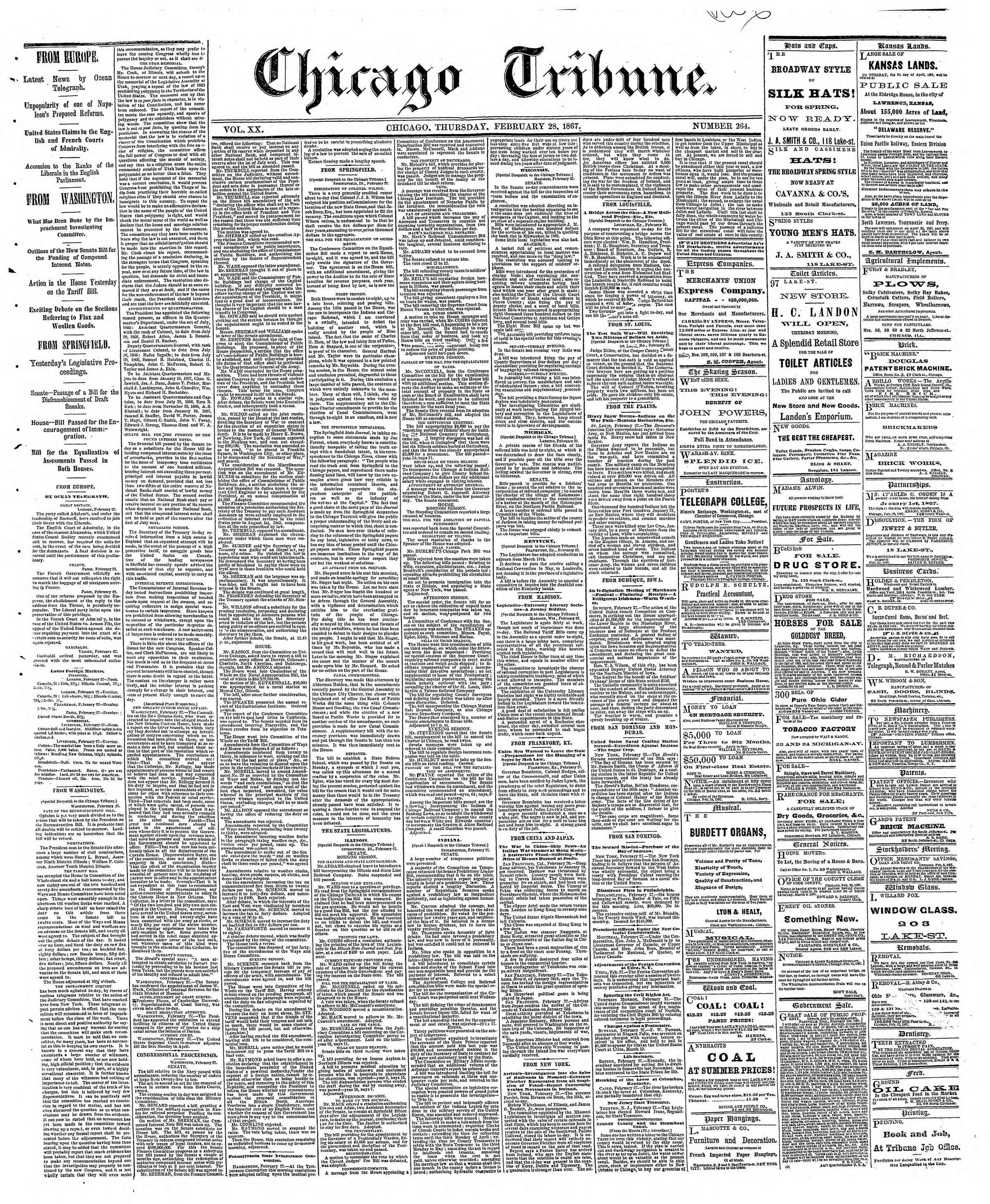 Newspaper of The Chicago Tribune dated February 28, 1867 Page 1