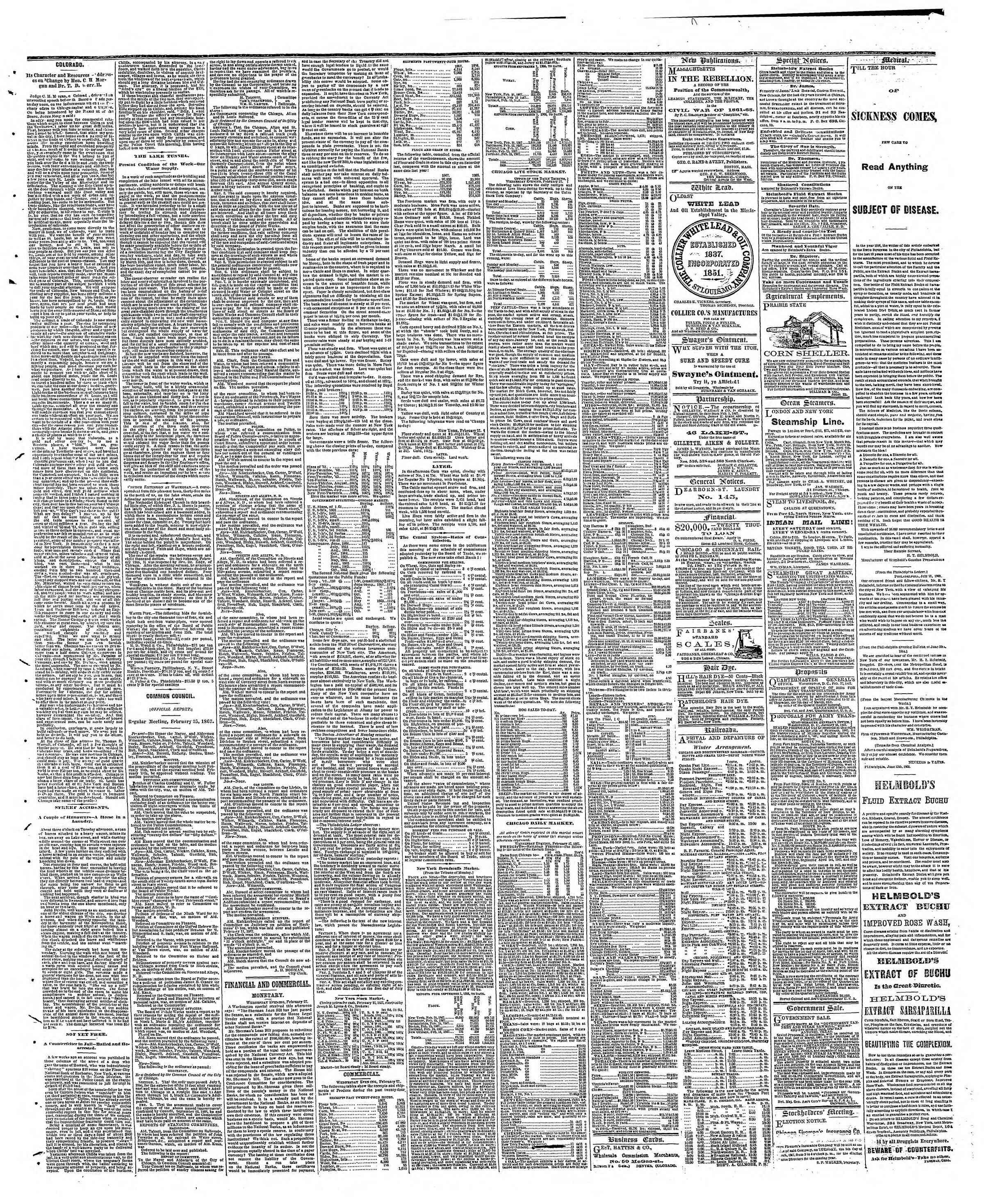 Newspaper of The Chicago Tribune dated February 28, 1867 Page 3