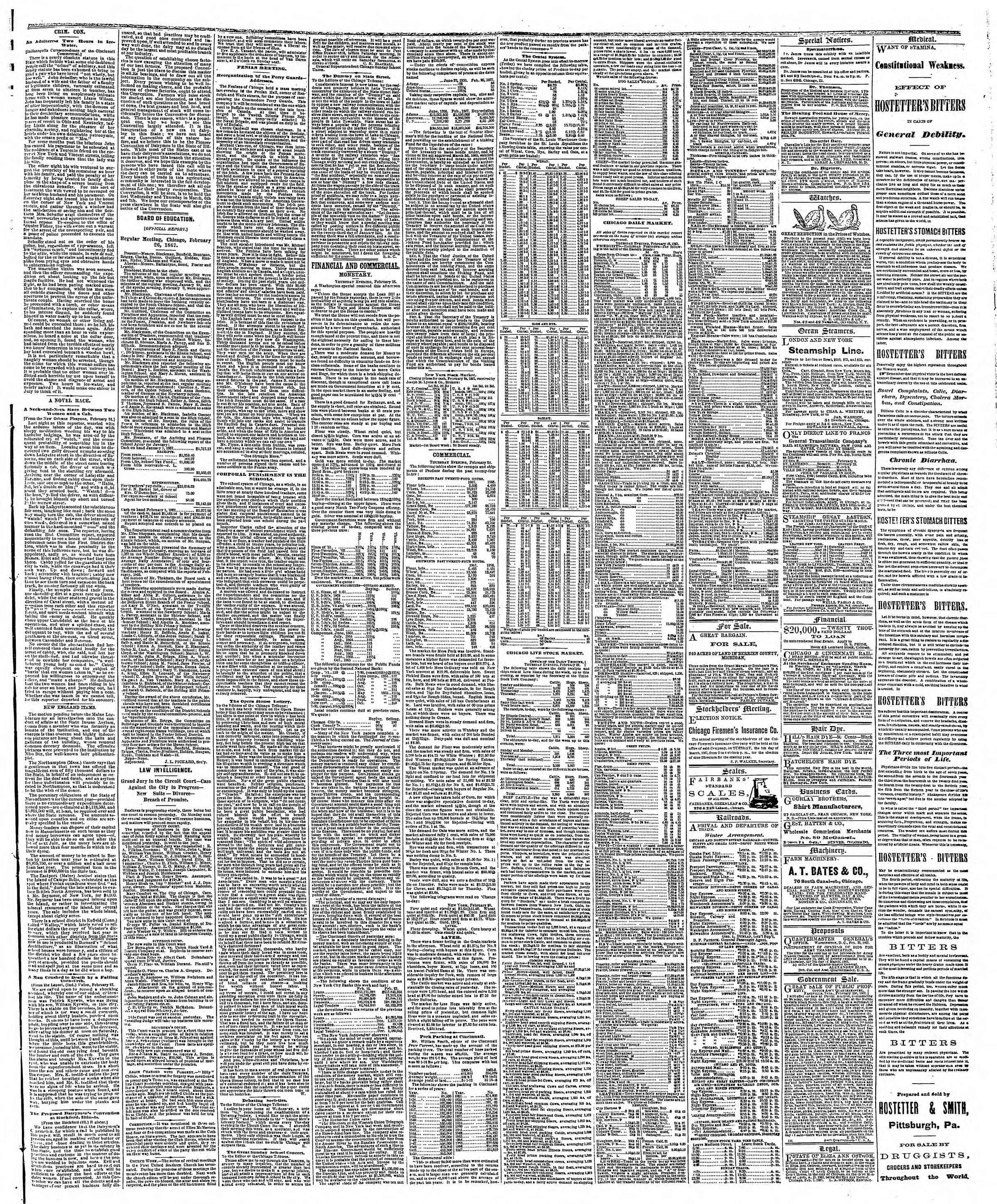 Newspaper of The Chicago Tribune dated March 1, 1867 Page 3