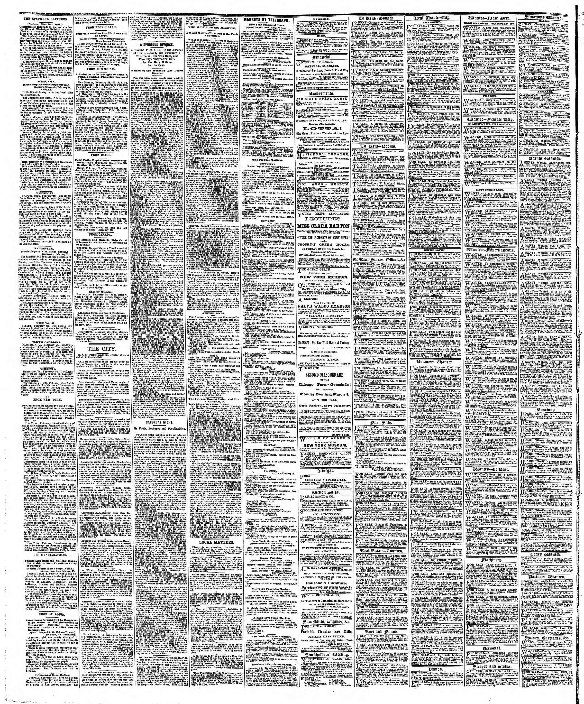 Newspaper of The Chicago Tribune dated March 1, 1867 Page 4