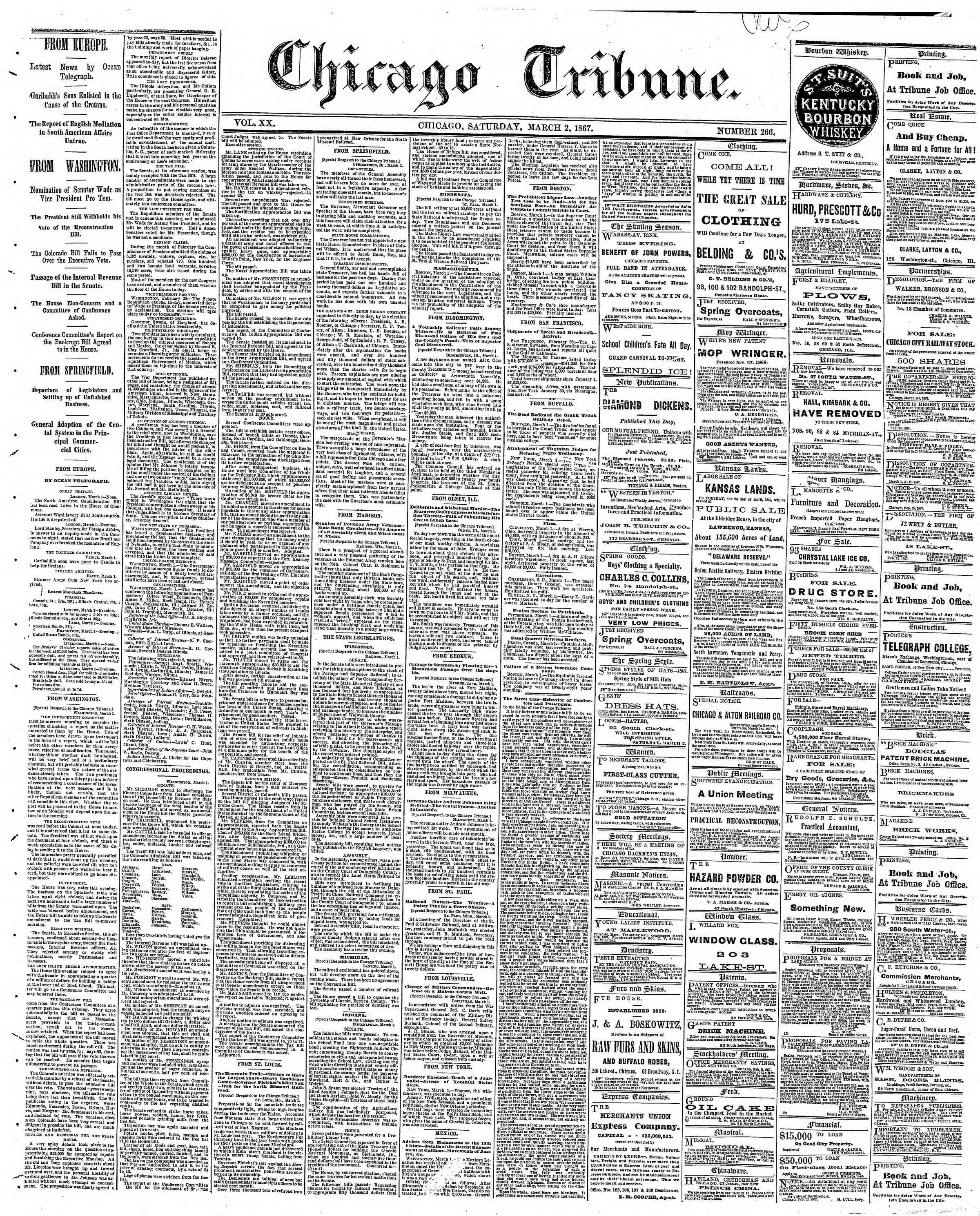 Newspaper of The Chicago Tribune dated March 2, 1867 Page 1