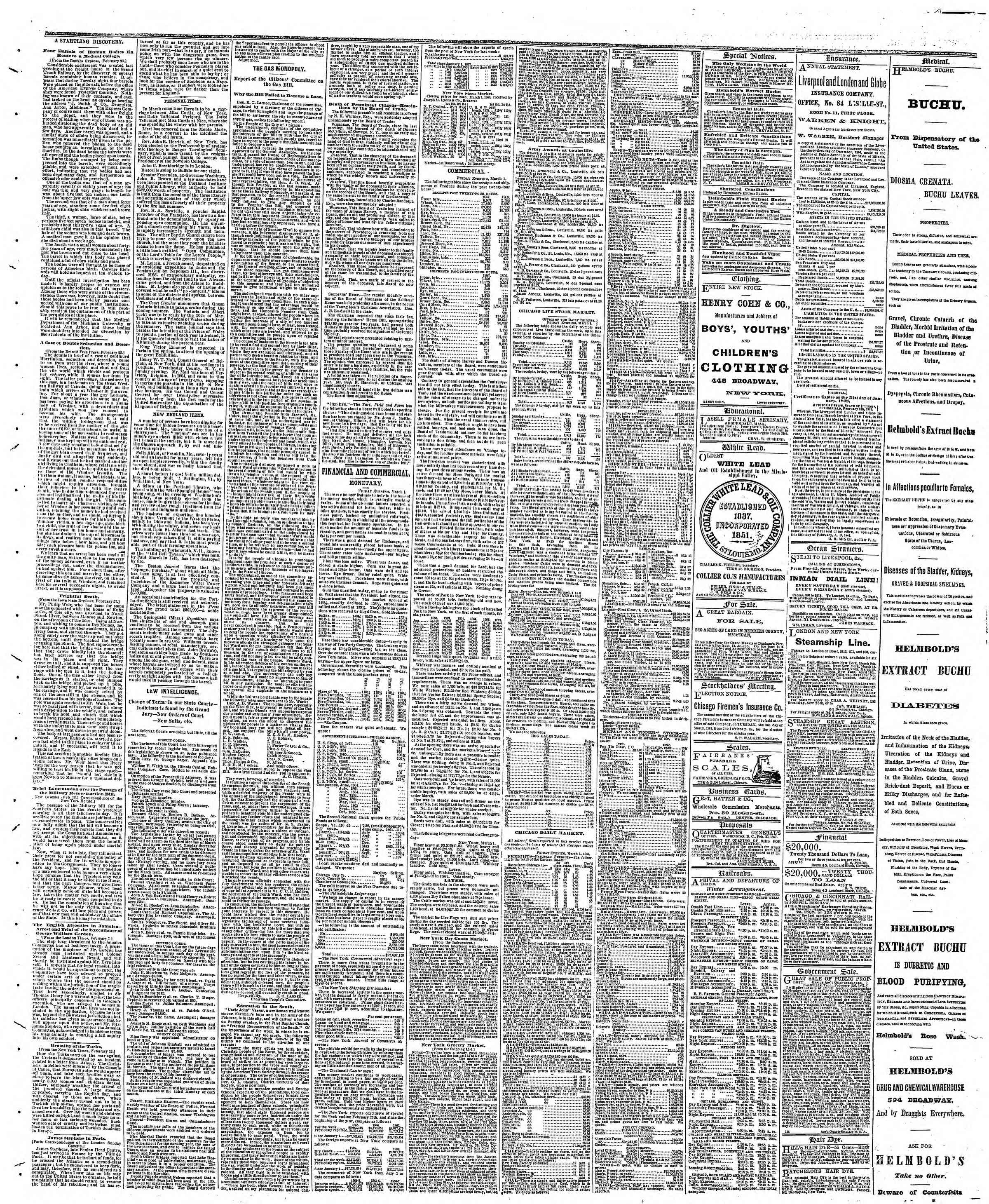 Newspaper of The Chicago Tribune dated March 2, 1867 Page 3