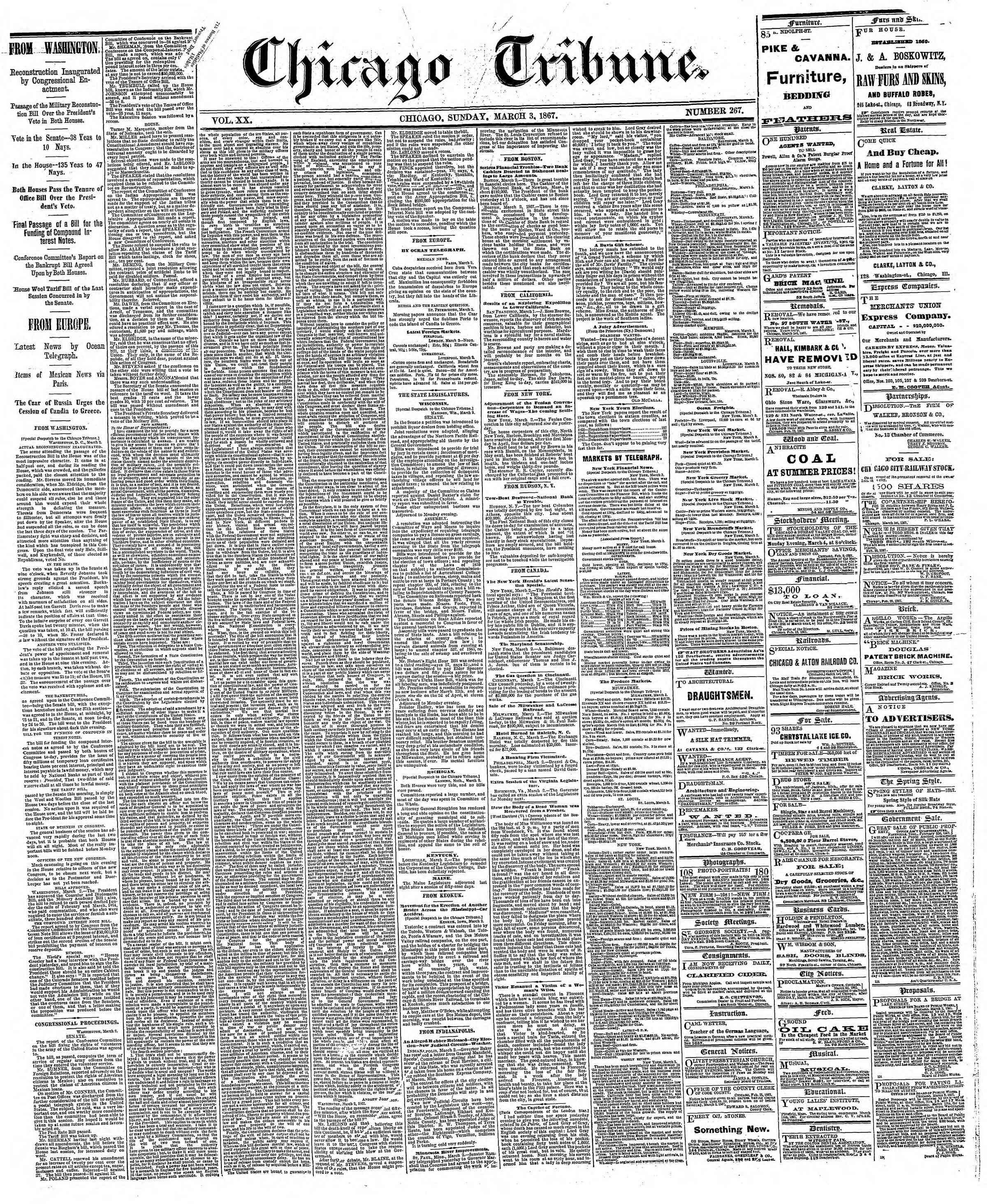Newspaper of The Chicago Tribune dated March 3, 1867 Page 1