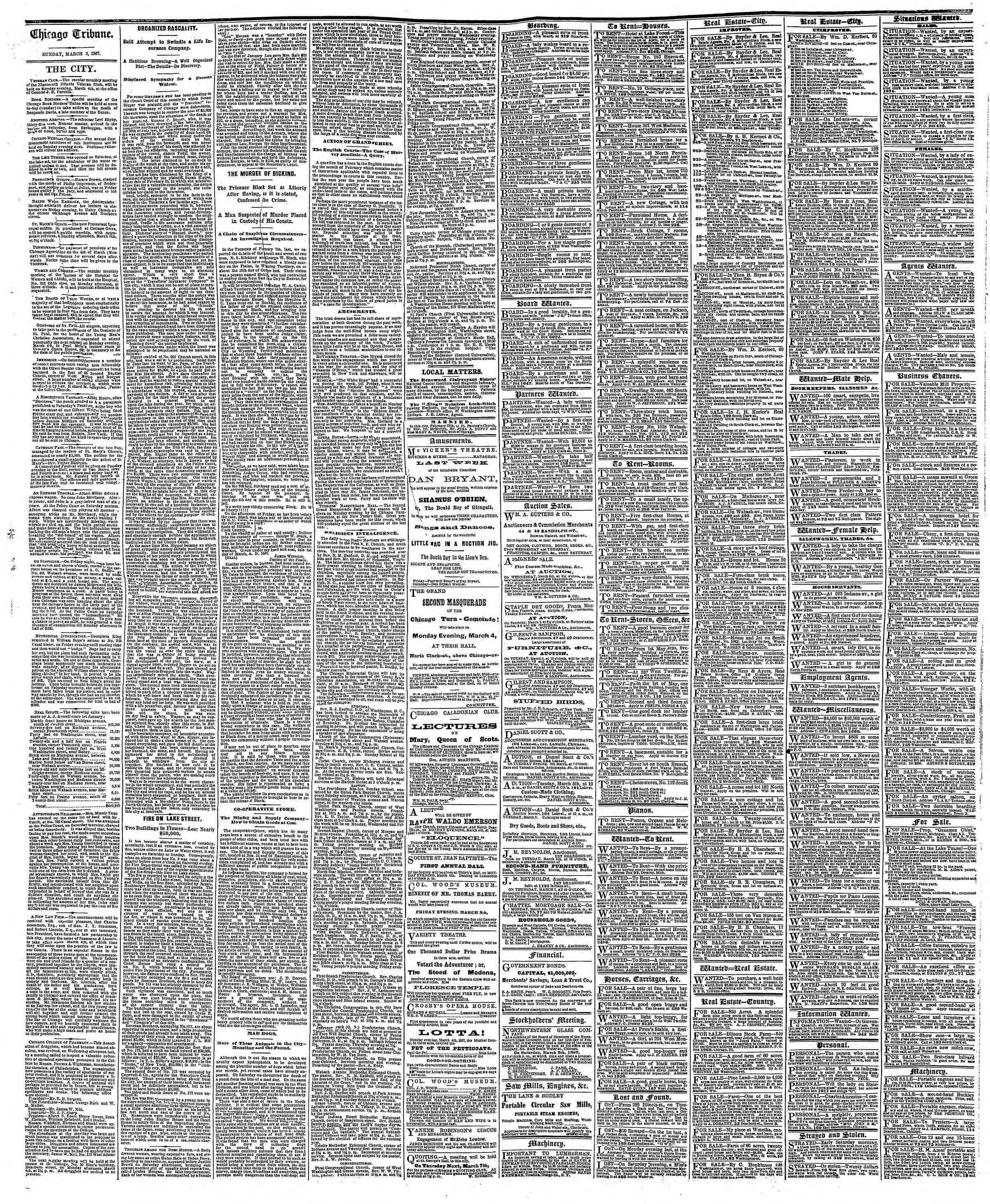 Newspaper of The Chicago Tribune dated March 3, 1867 Page 4