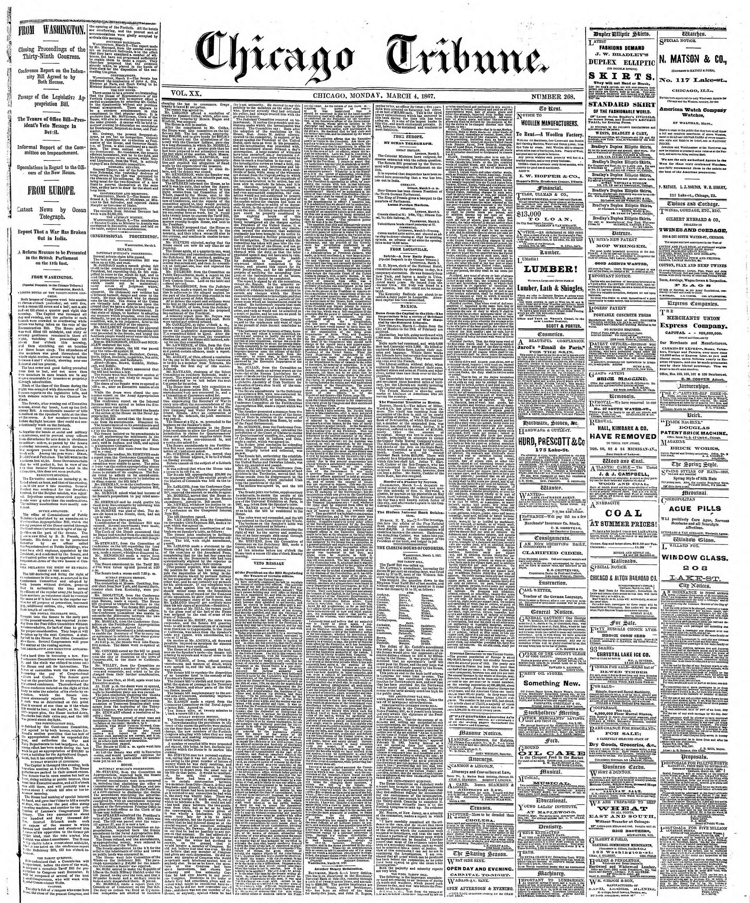 Newspaper of The Chicago Tribune dated March 4, 1867 Page 1