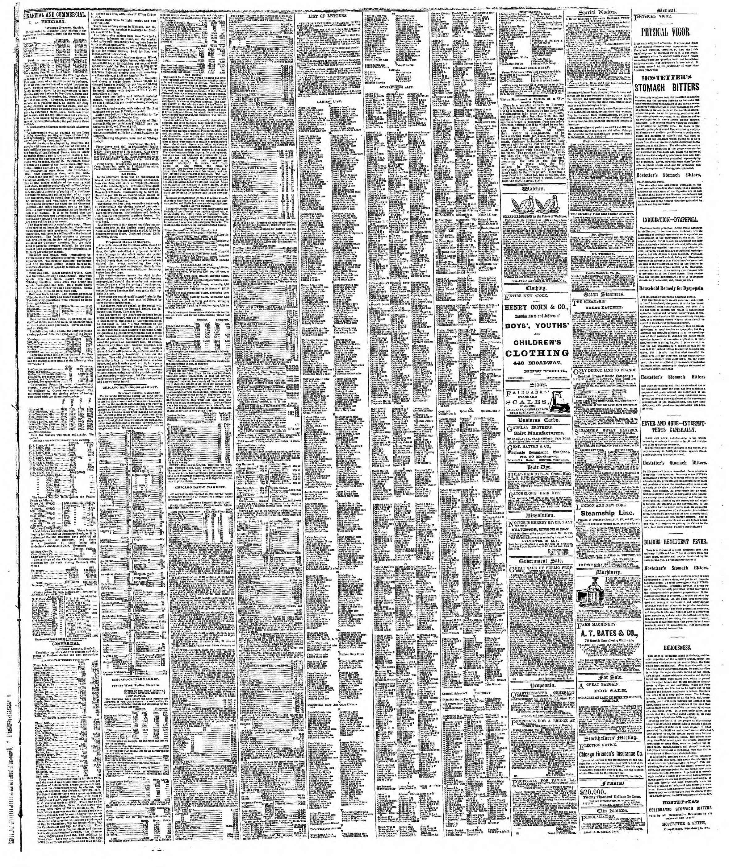 Newspaper of The Chicago Tribune dated March 4, 1867 Page 3