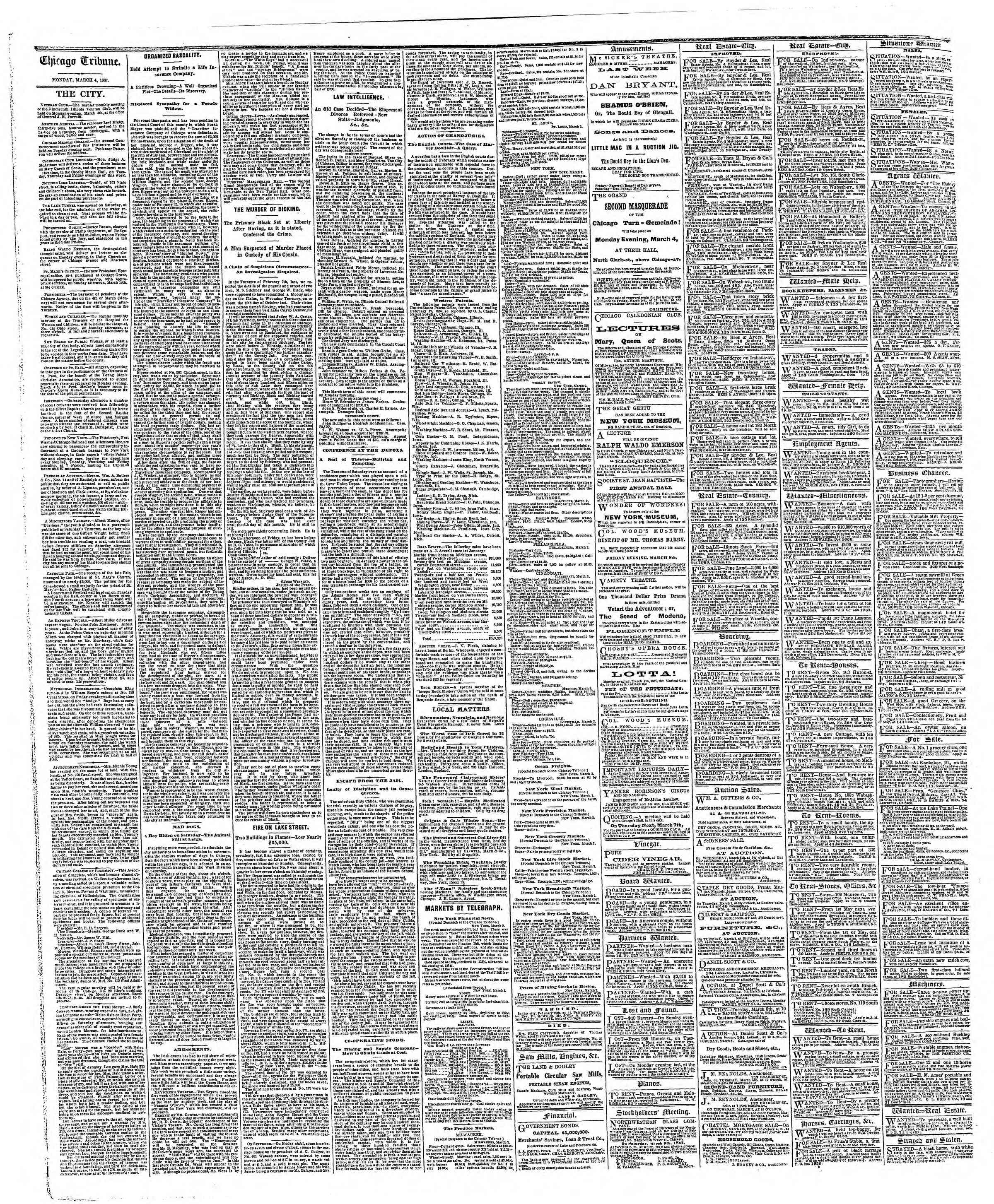 Newspaper of The Chicago Tribune dated March 4, 1867 Page 4