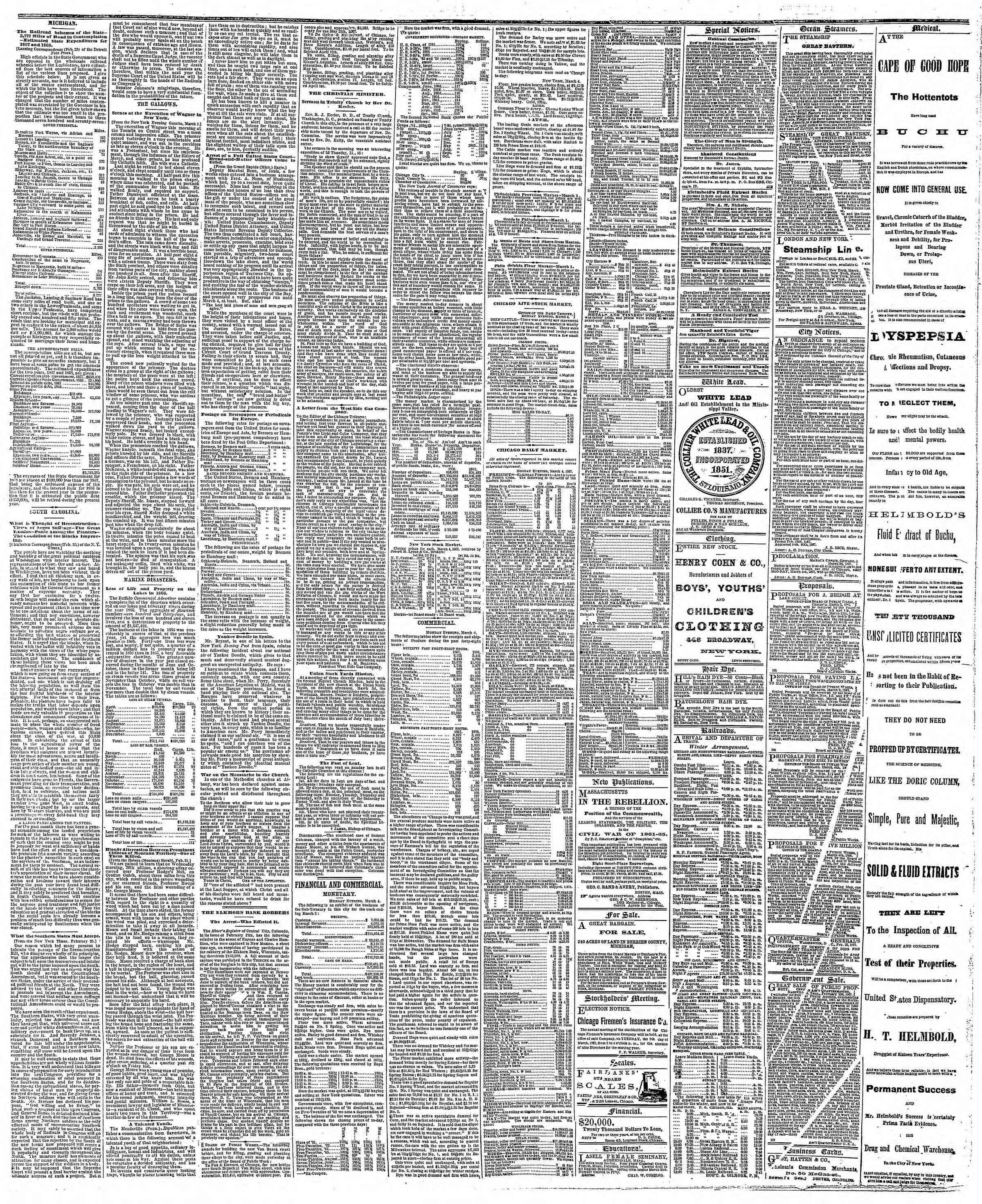 Newspaper of The Chicago Tribune dated March 5, 1867 Page 3