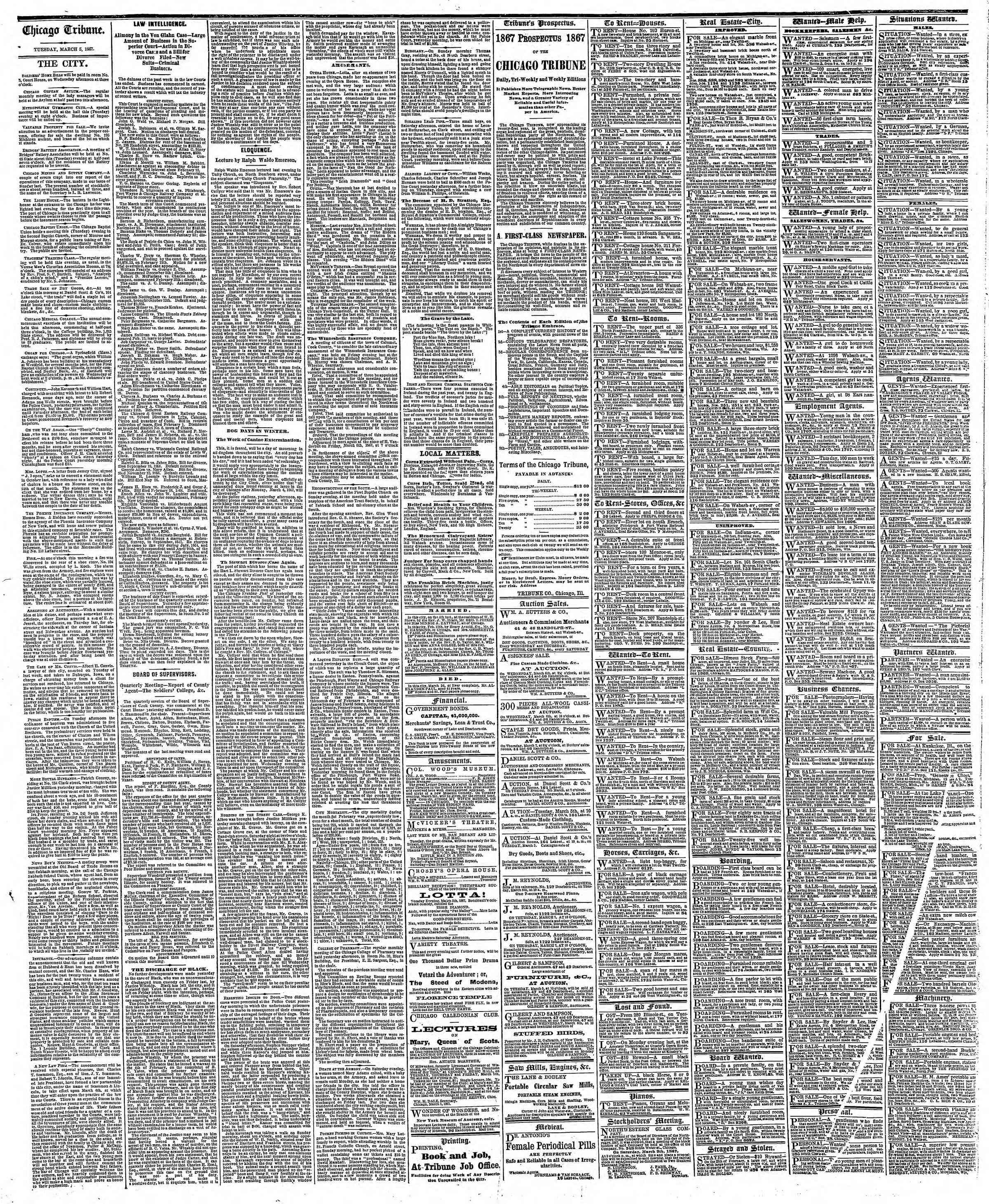 Newspaper of The Chicago Tribune dated March 5, 1867 Page 4