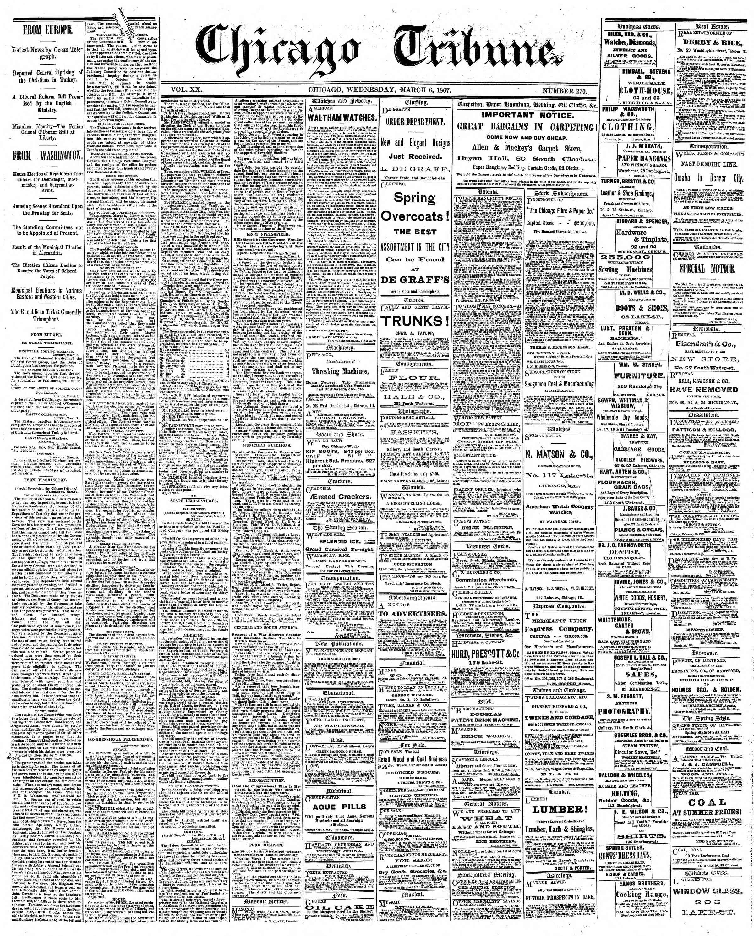 Newspaper of The Chicago Tribune dated March 6, 1867 Page 1