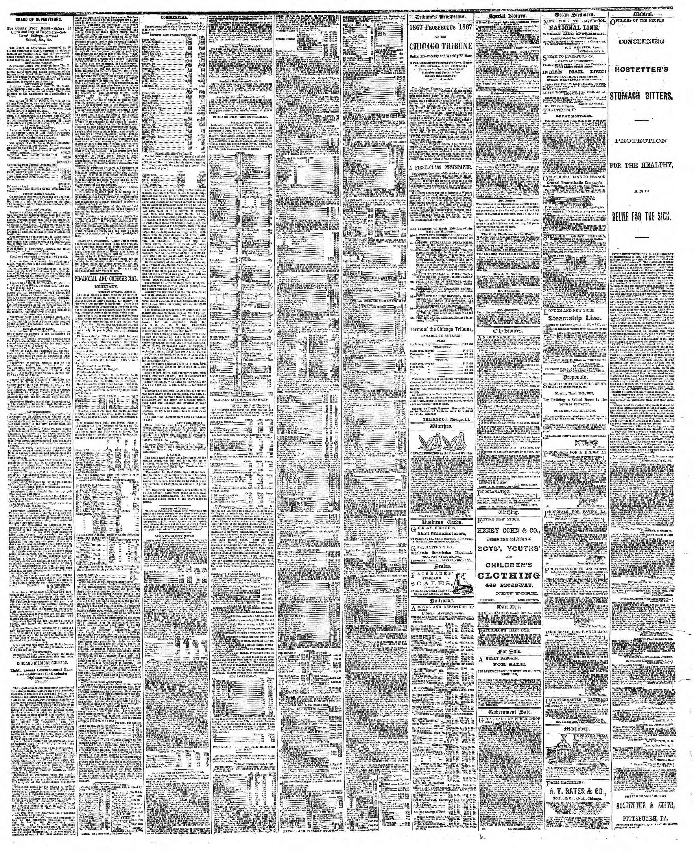 Newspaper of The Chicago Tribune dated March 6, 1867 Page 3