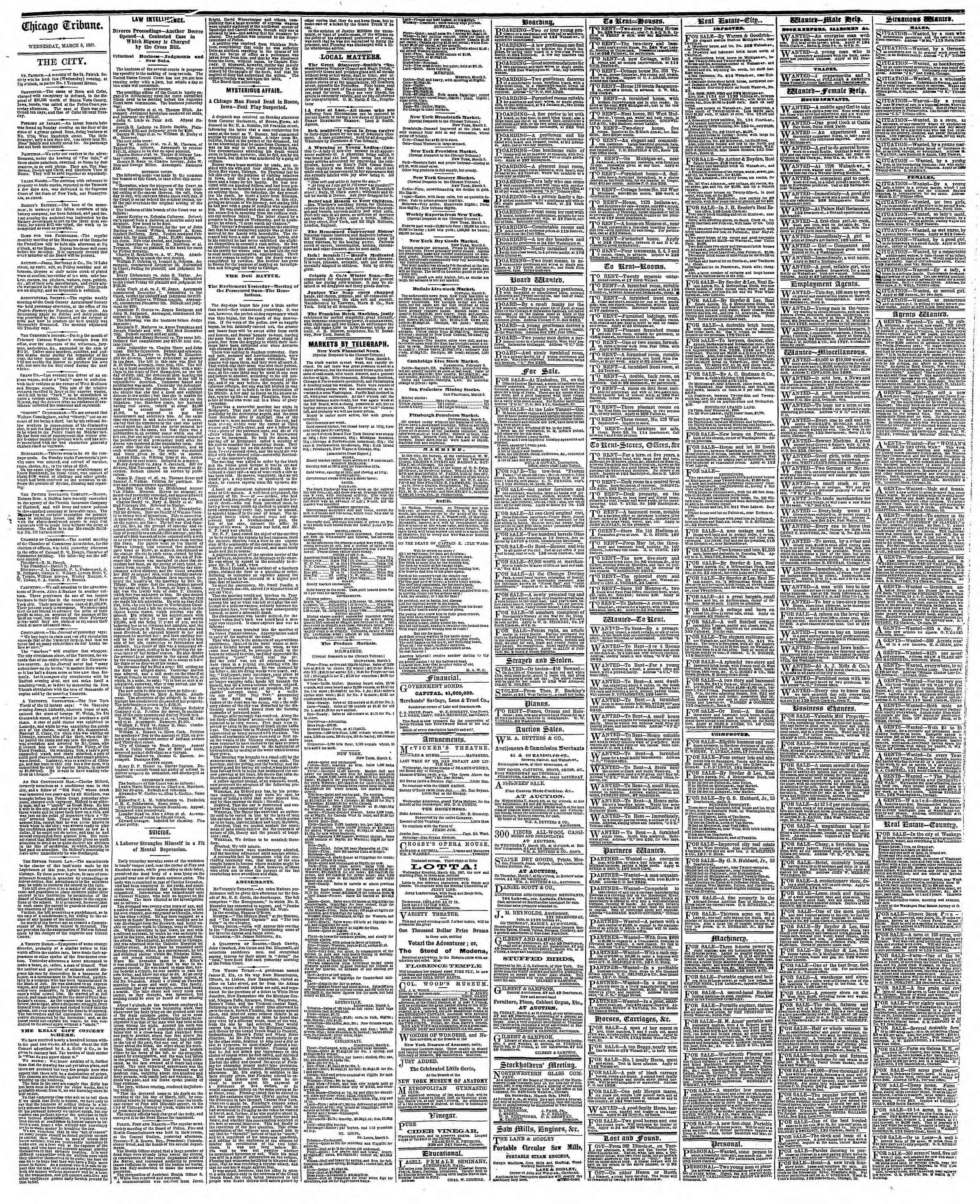 Newspaper of The Chicago Tribune dated March 6, 1867 Page 4