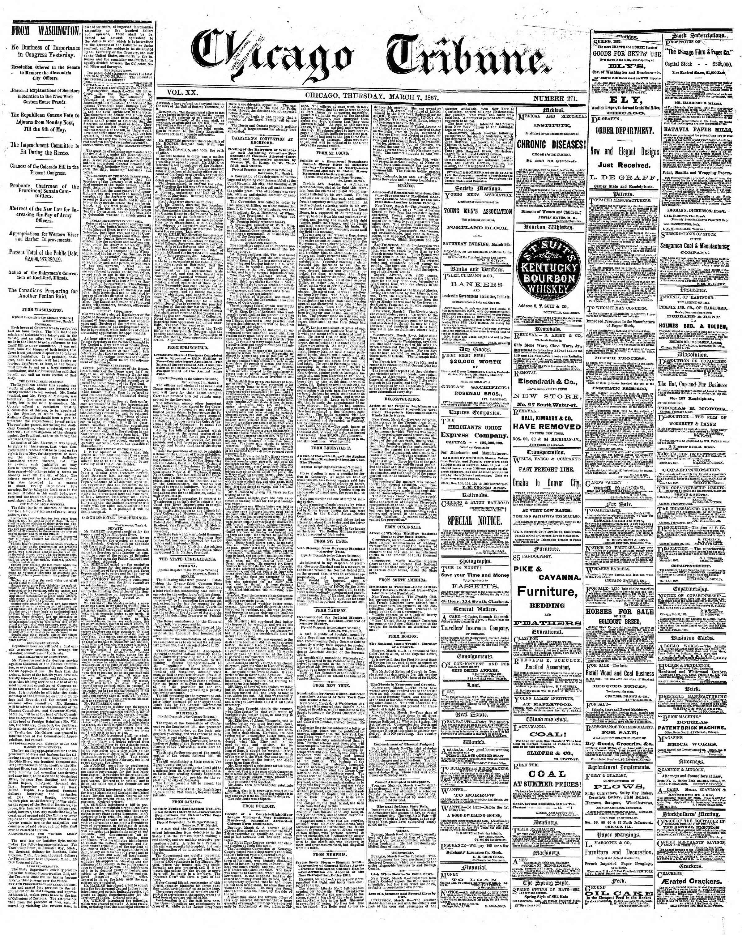 Newspaper of The Chicago Tribune dated March 7, 1867 Page 1