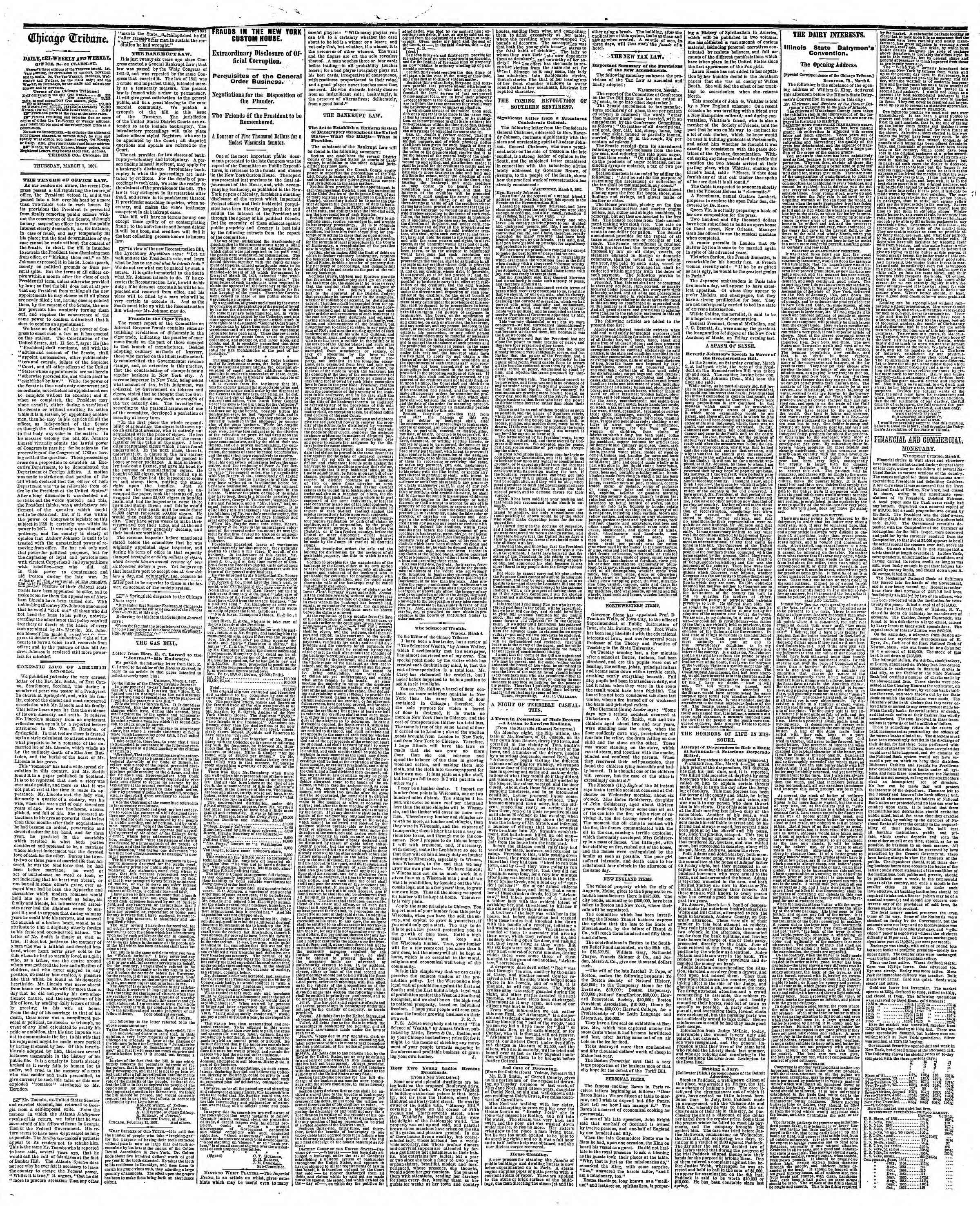 Newspaper of The Chicago Tribune dated March 7, 1867 Page 2