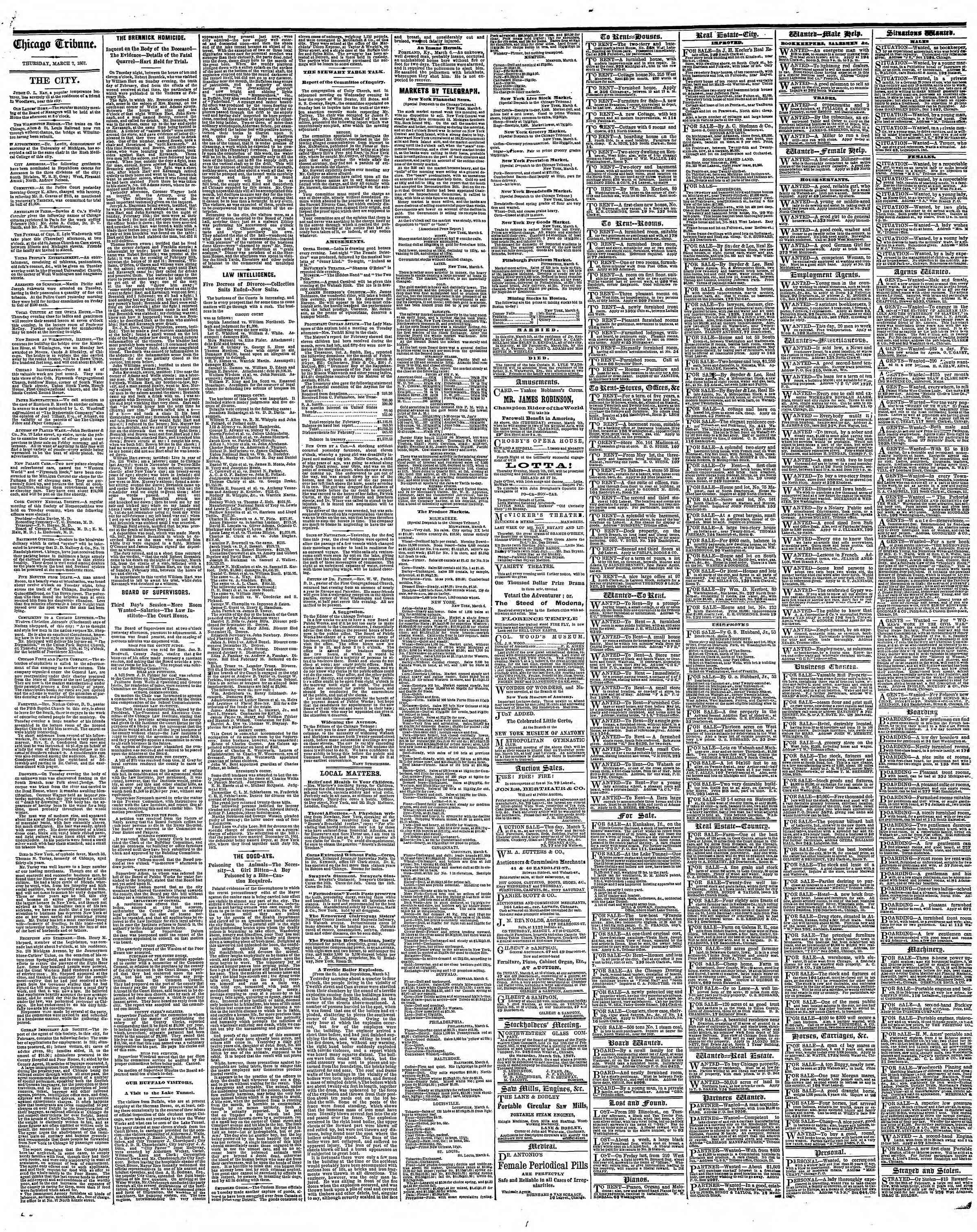 Newspaper of The Chicago Tribune dated March 7, 1867 Page 4