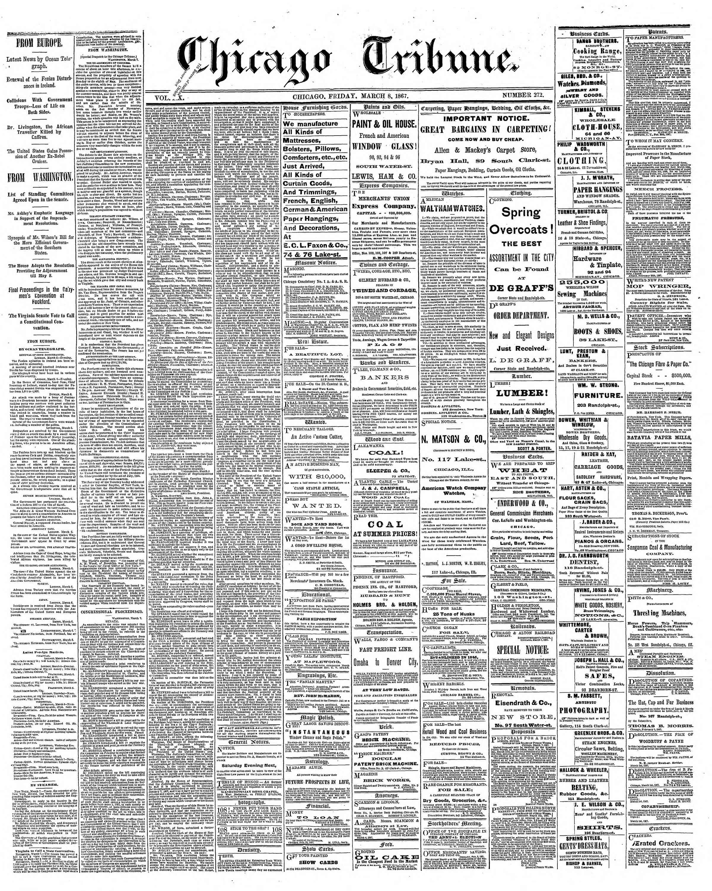 Newspaper of The Chicago Tribune dated March 8, 1867 Page 1