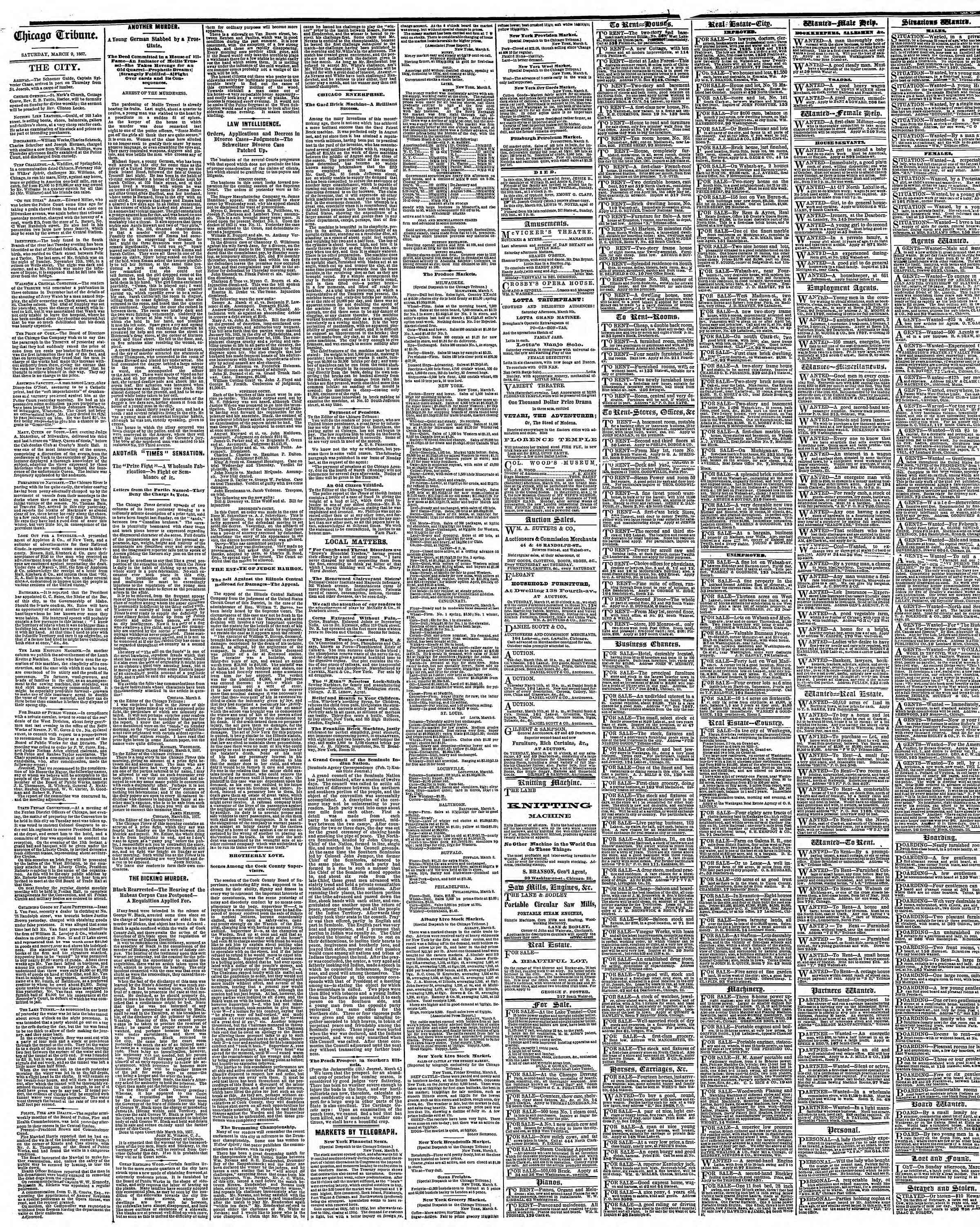 Newspaper of The Chicago Tribune dated March 9, 1867 Page 4