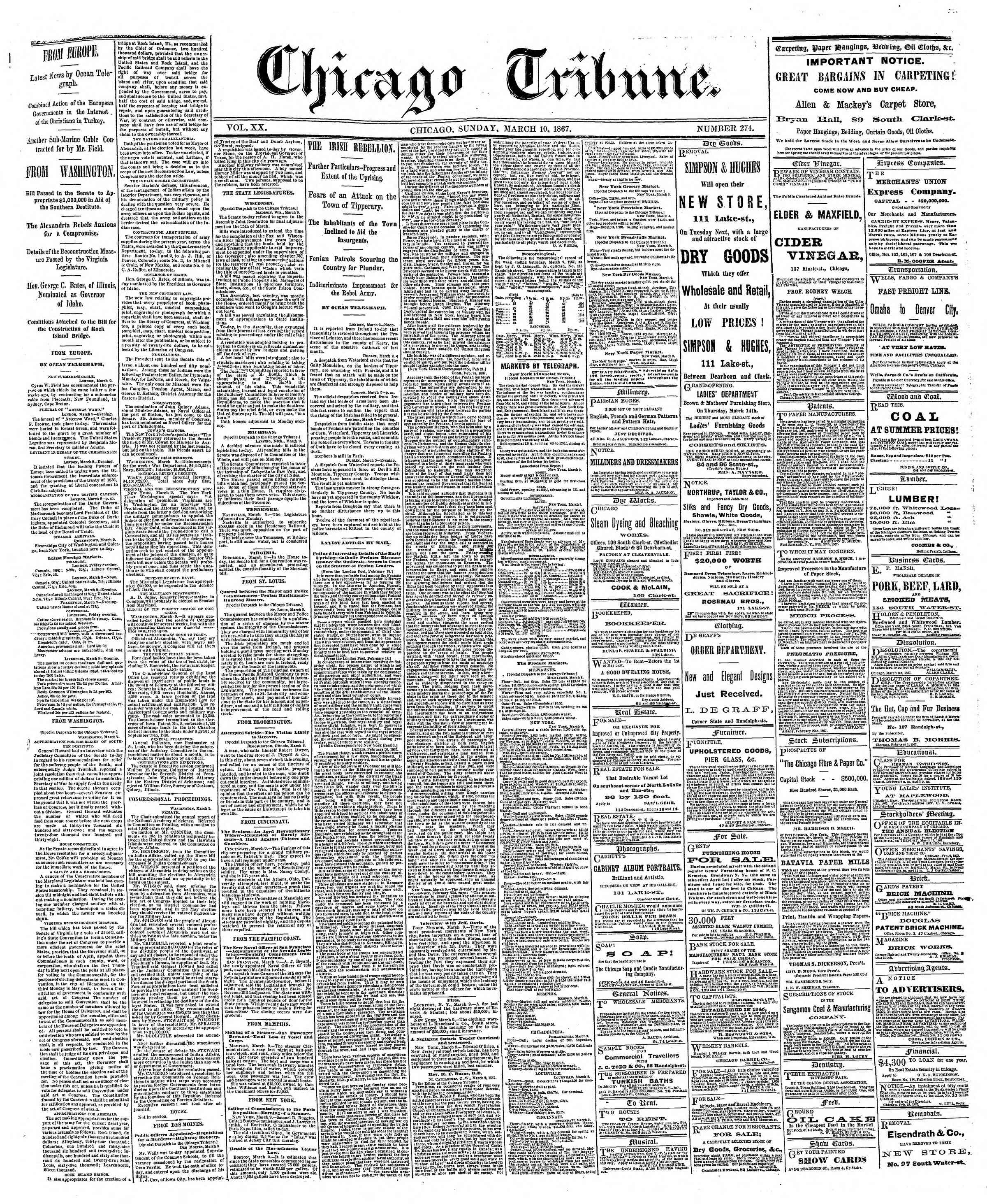 Newspaper of The Chicago Tribune dated March 10, 1867 Page 1
