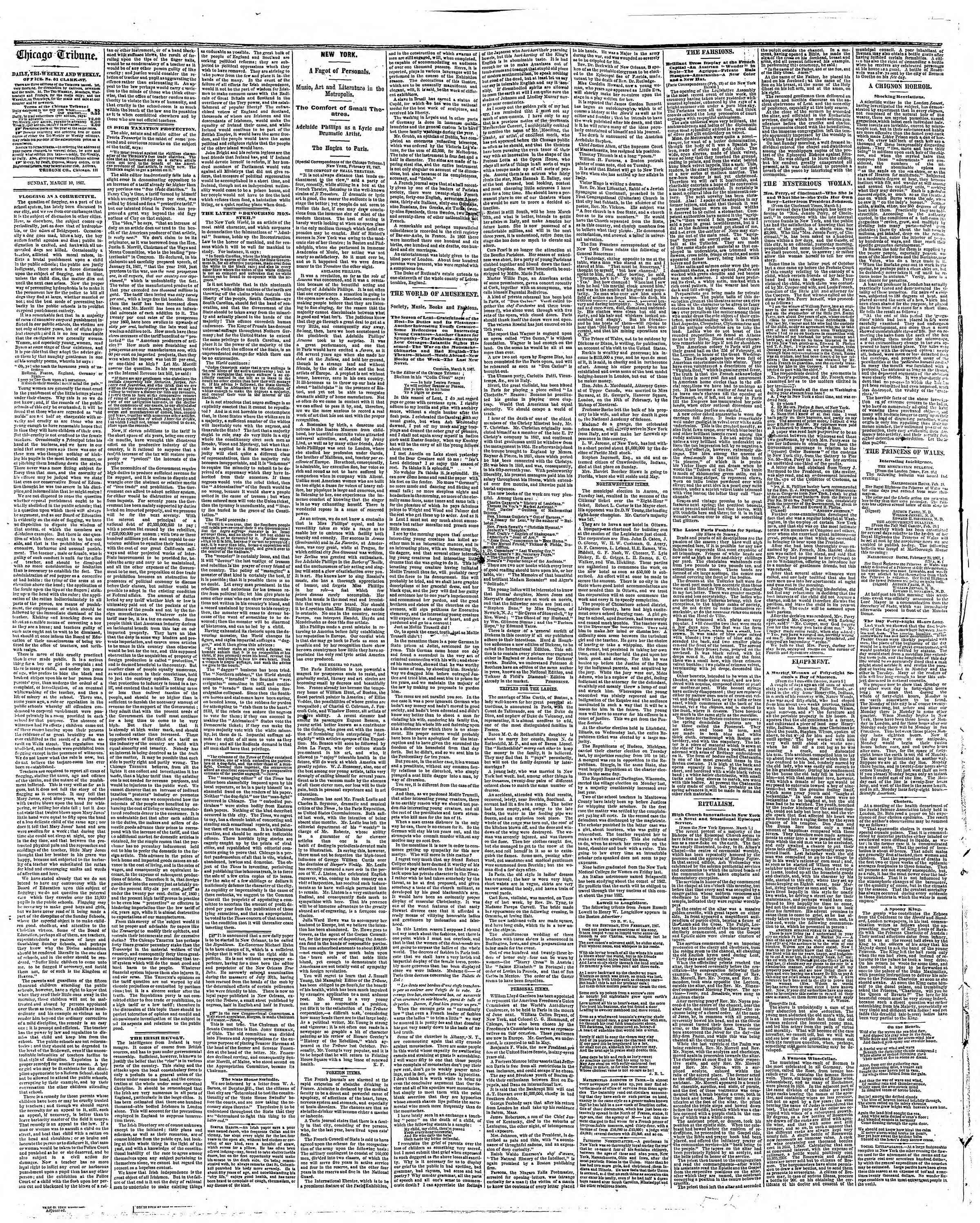 Newspaper of The Chicago Tribune dated March 10, 1867 Page 2
