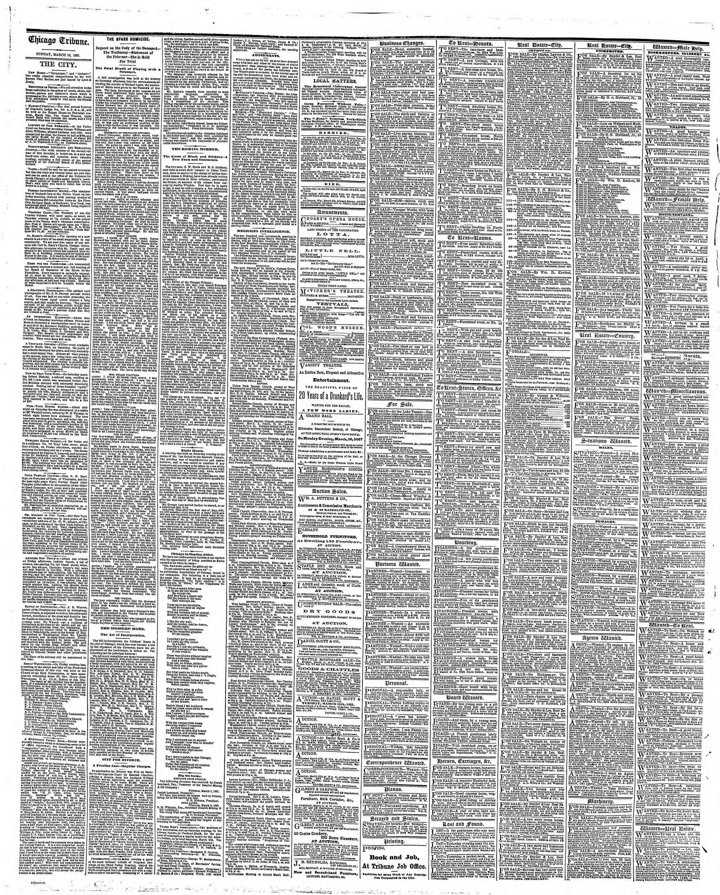 Newspaper of The Chicago Tribune dated March 10, 1867 Page 4