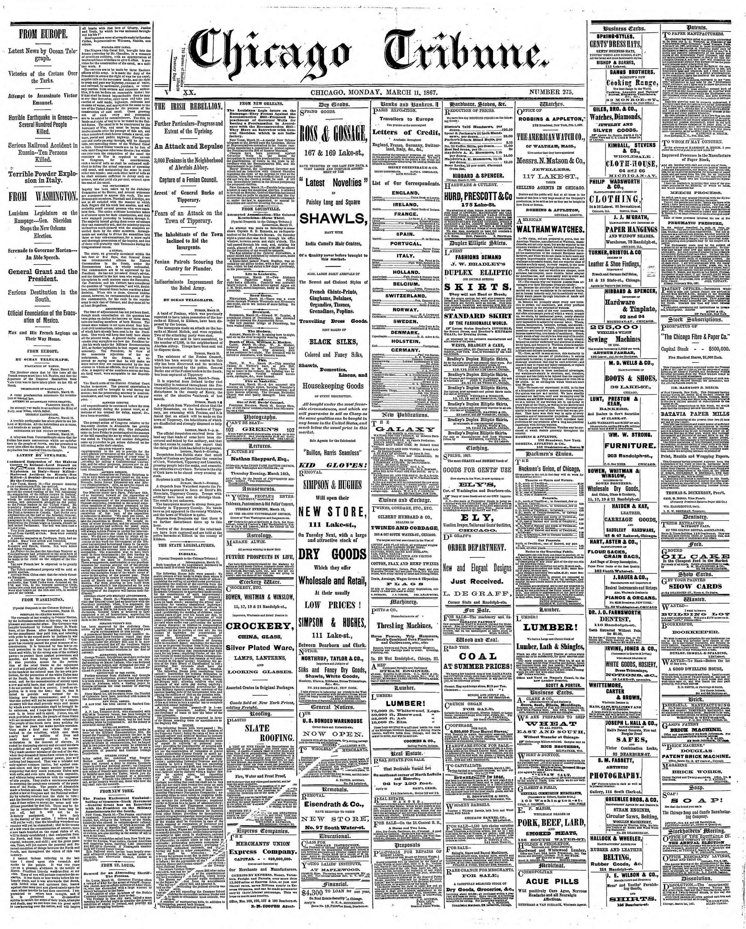 Newspaper of The Chicago Tribune dated March 11, 1867 Page 1