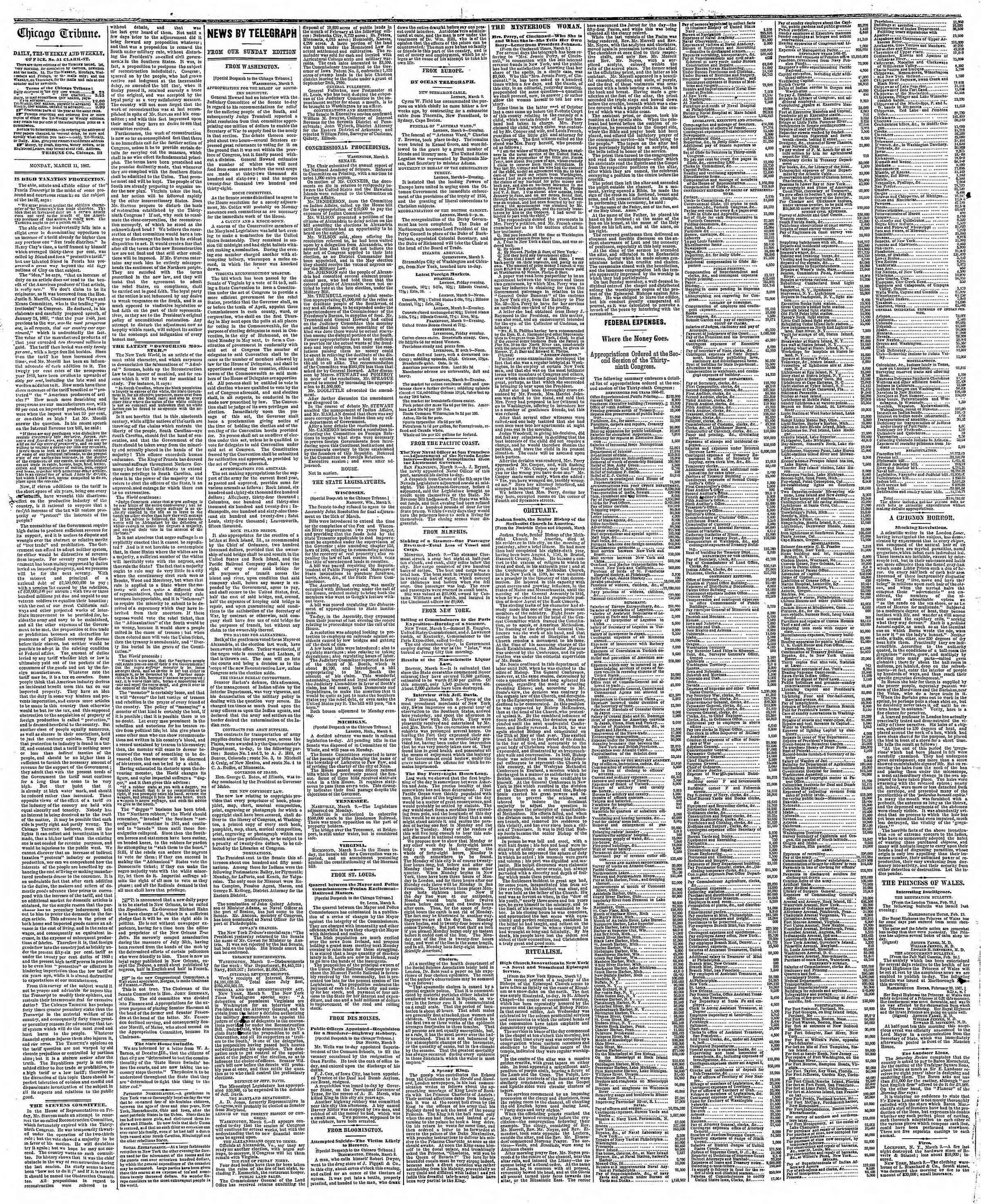 Newspaper of The Chicago Tribune dated March 11, 1867 Page 2