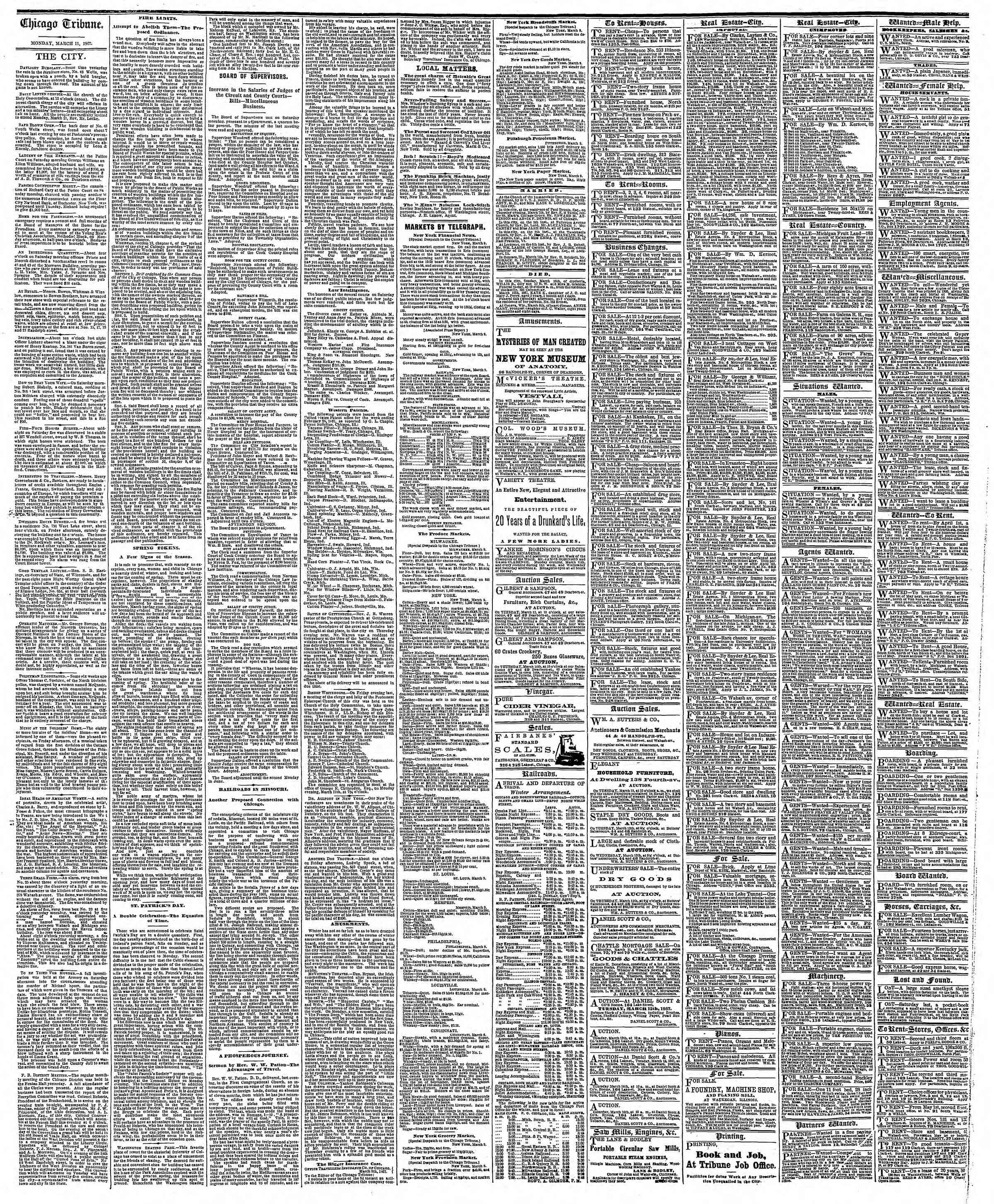 Newspaper of The Chicago Tribune dated March 11, 1867 Page 4