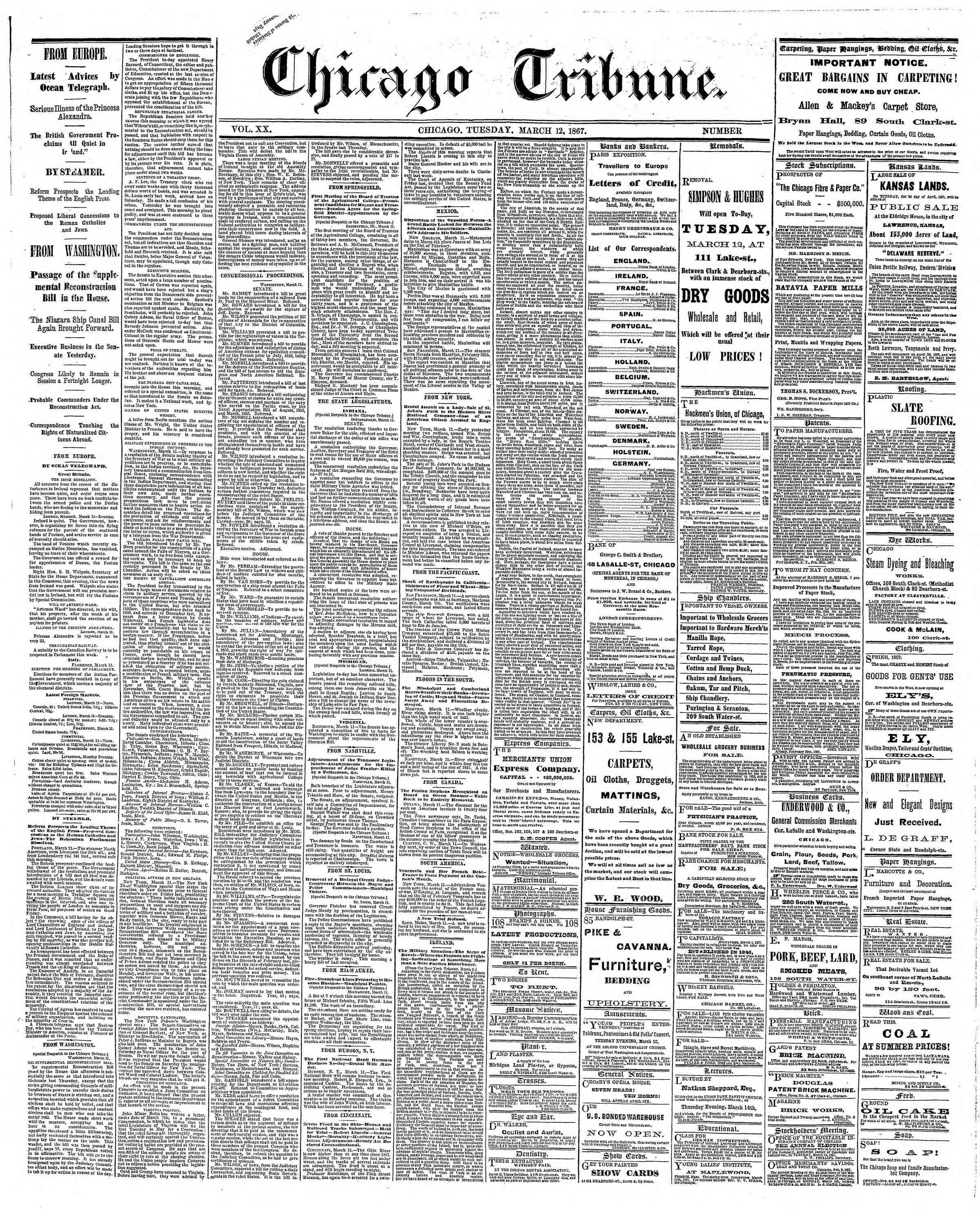 Newspaper of The Chicago Tribune dated March 12, 1867 Page 1