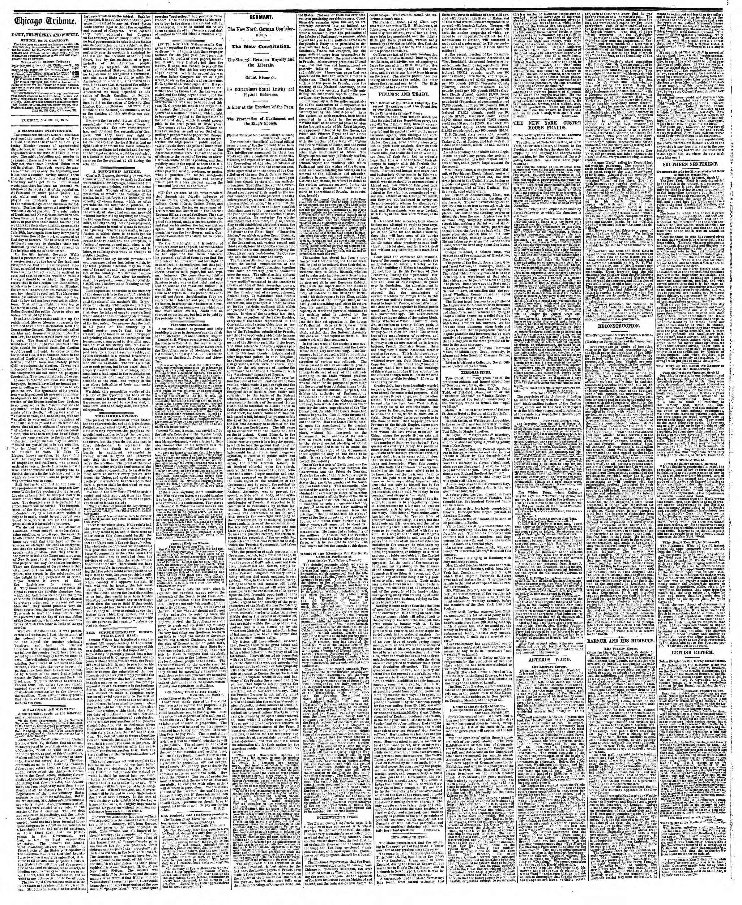 Newspaper of The Chicago Tribune dated March 12, 1867 Page 2