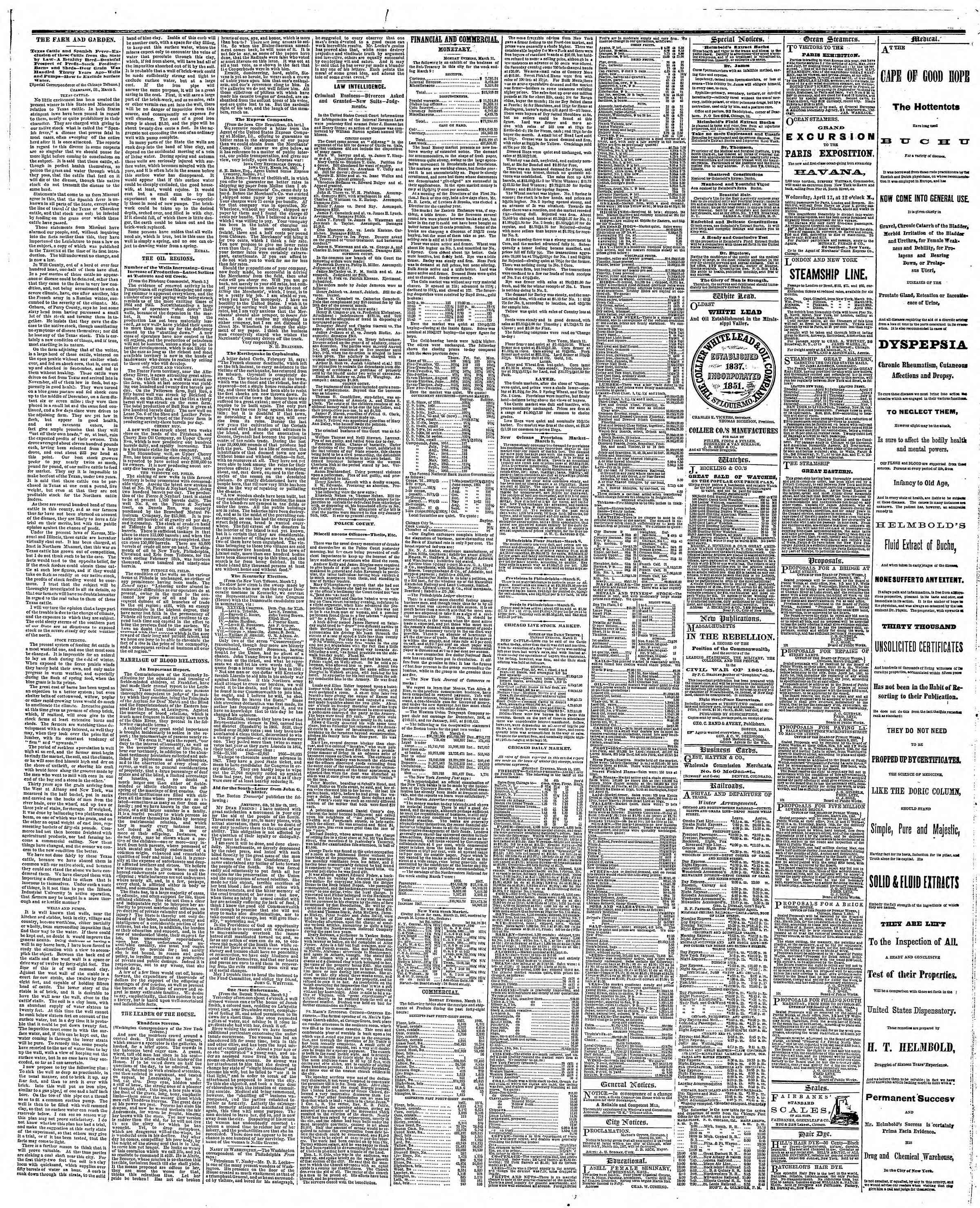 Newspaper of The Chicago Tribune dated March 12, 1867 Page 3