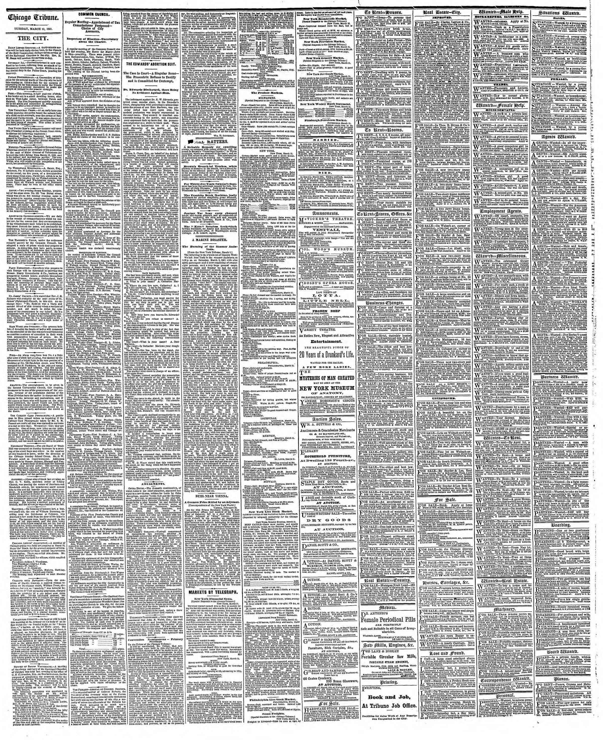 Newspaper of The Chicago Tribune dated March 12, 1867 Page 4