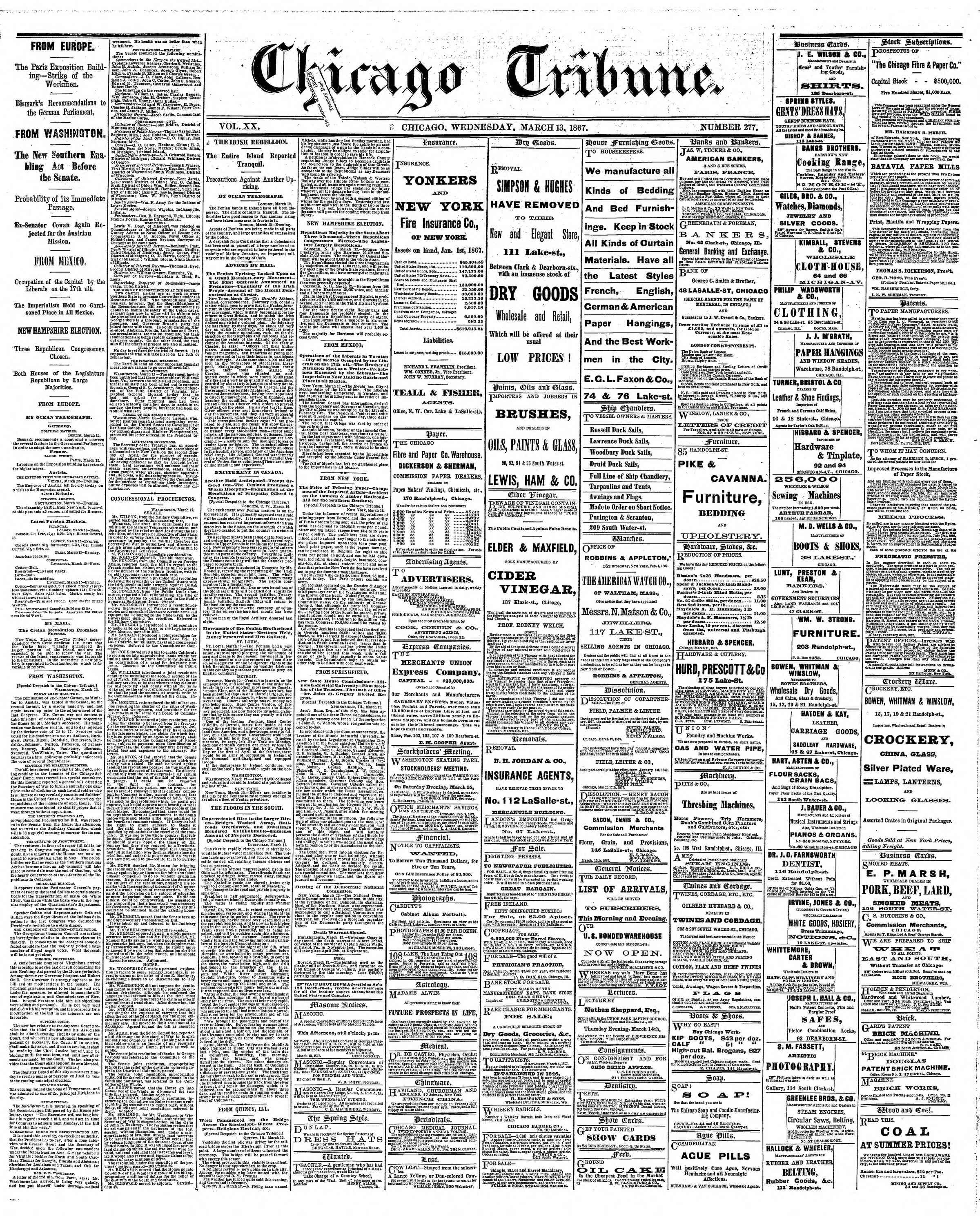 Newspaper of The Chicago Tribune dated March 13, 1867 Page 1