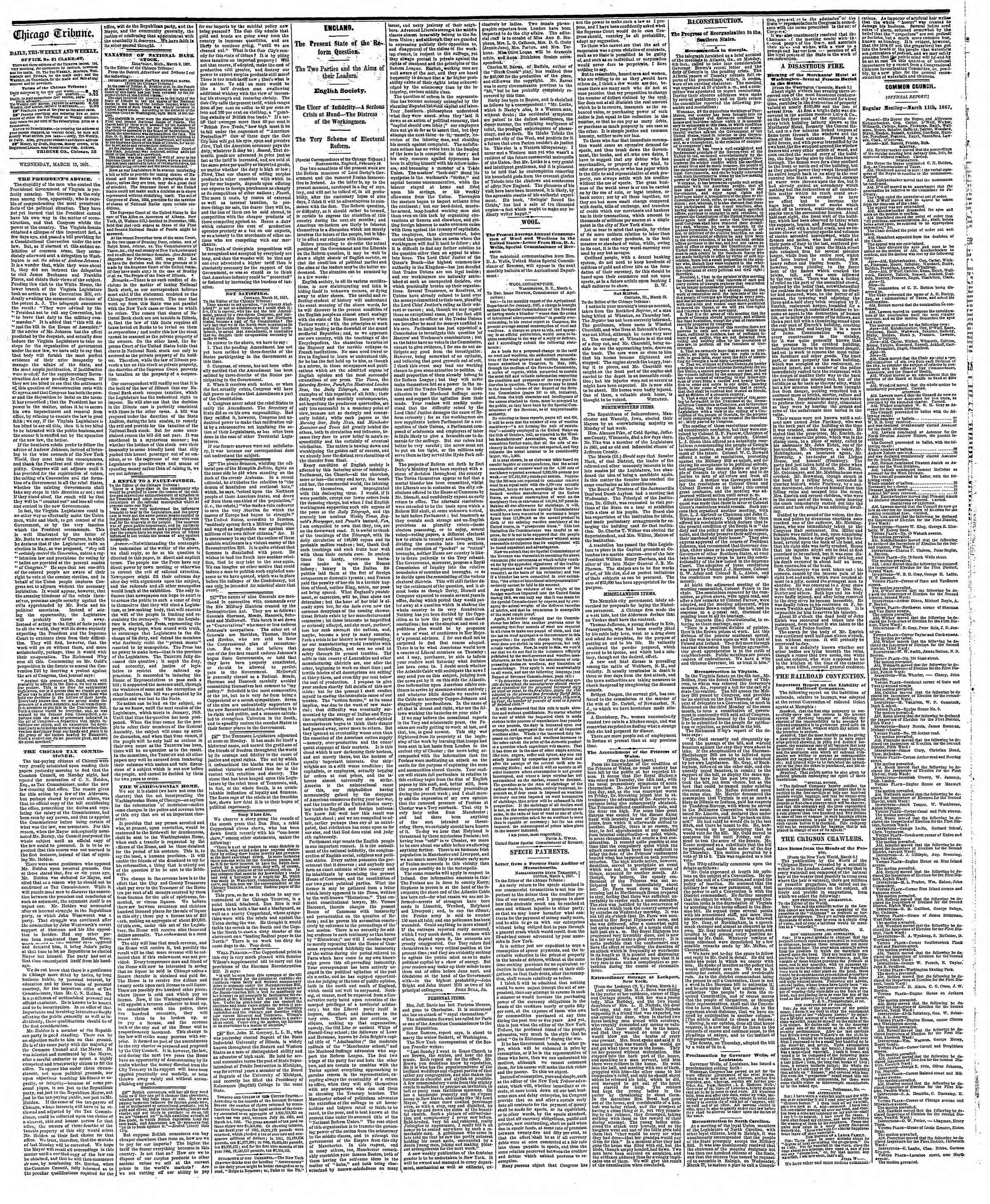 Newspaper of The Chicago Tribune dated March 13, 1867 Page 2