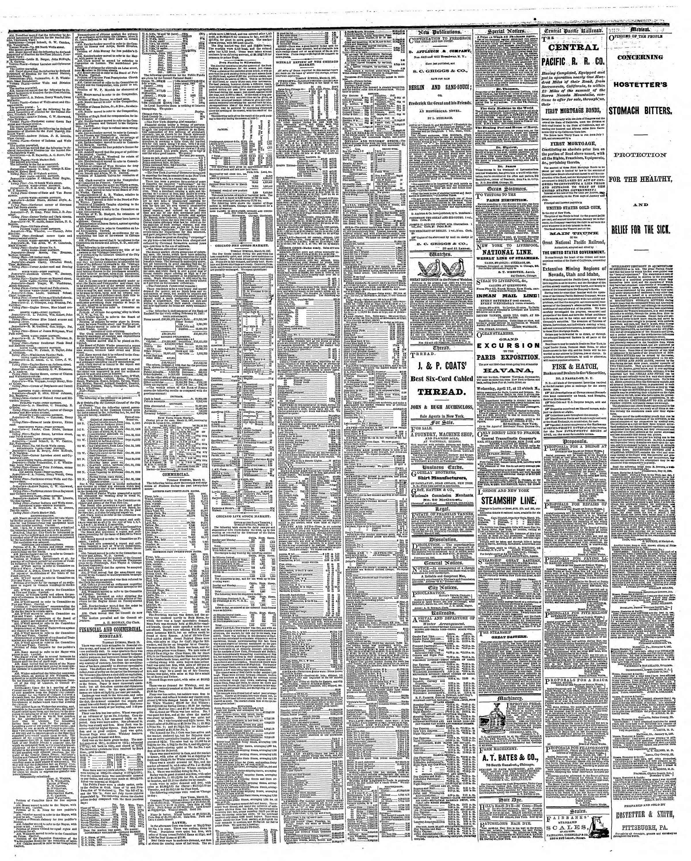 Newspaper of The Chicago Tribune dated March 13, 1867 Page 3