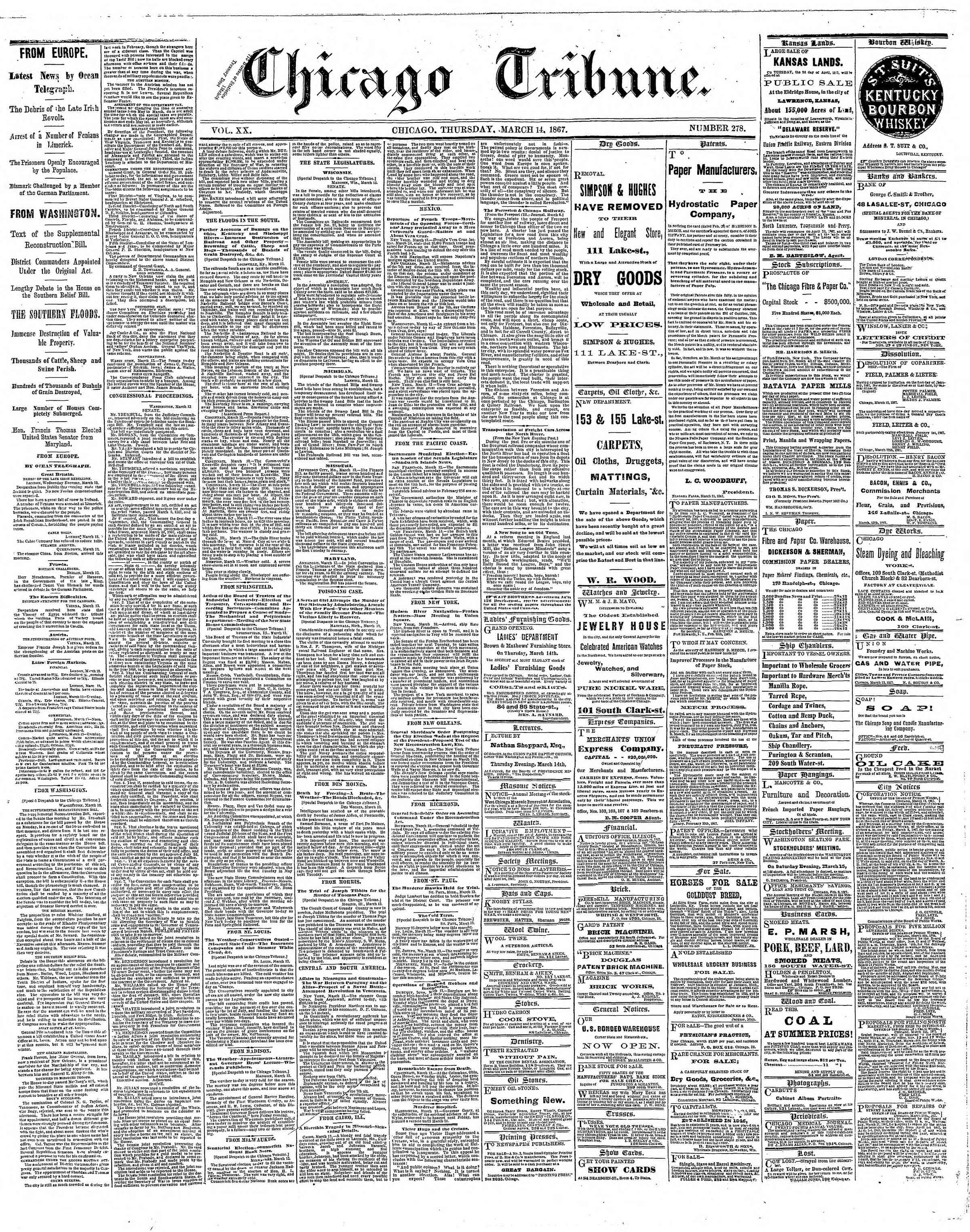 Newspaper of The Chicago Tribune dated March 14, 1867 Page 1