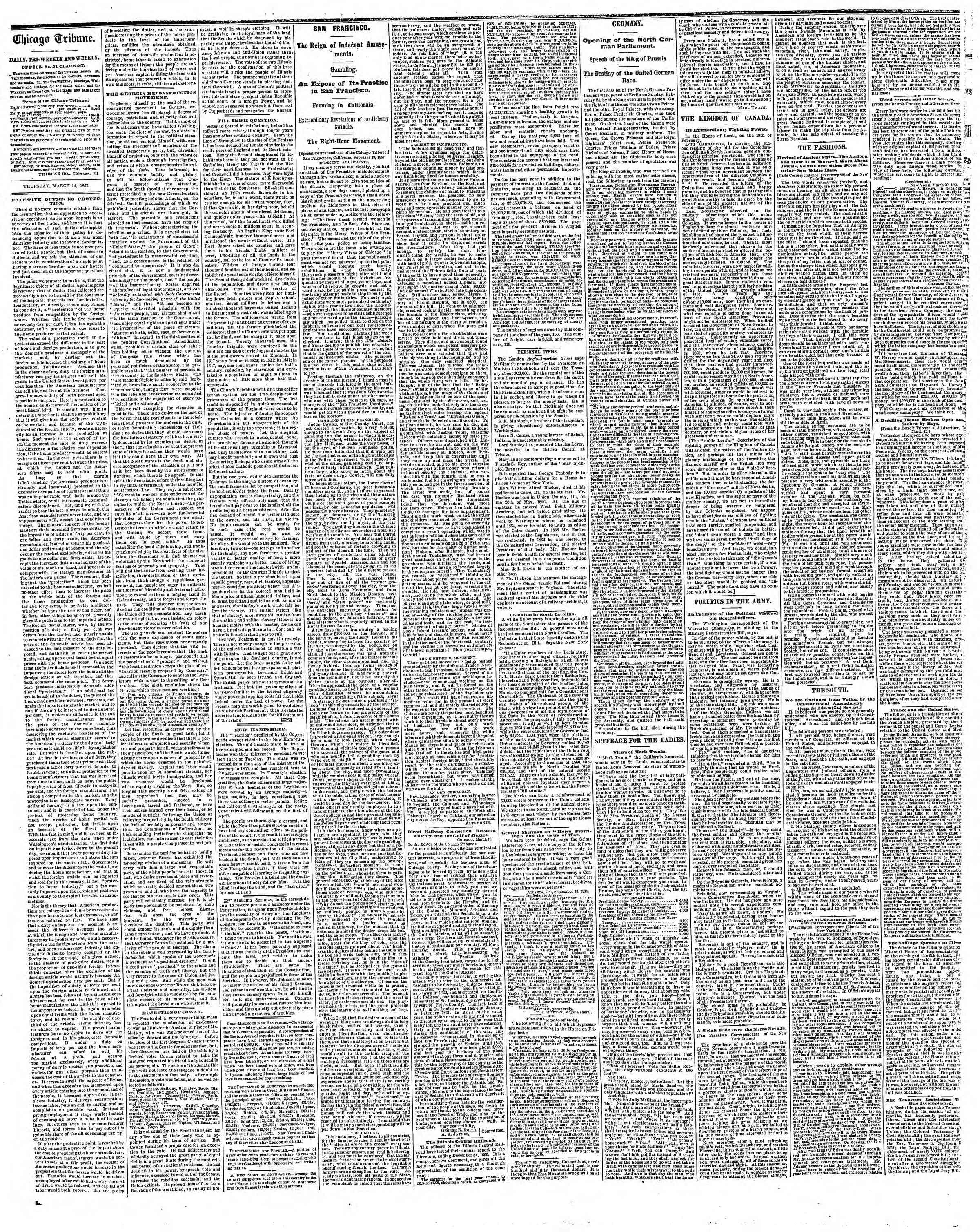 Newspaper of The Chicago Tribune dated March 14, 1867 Page 2