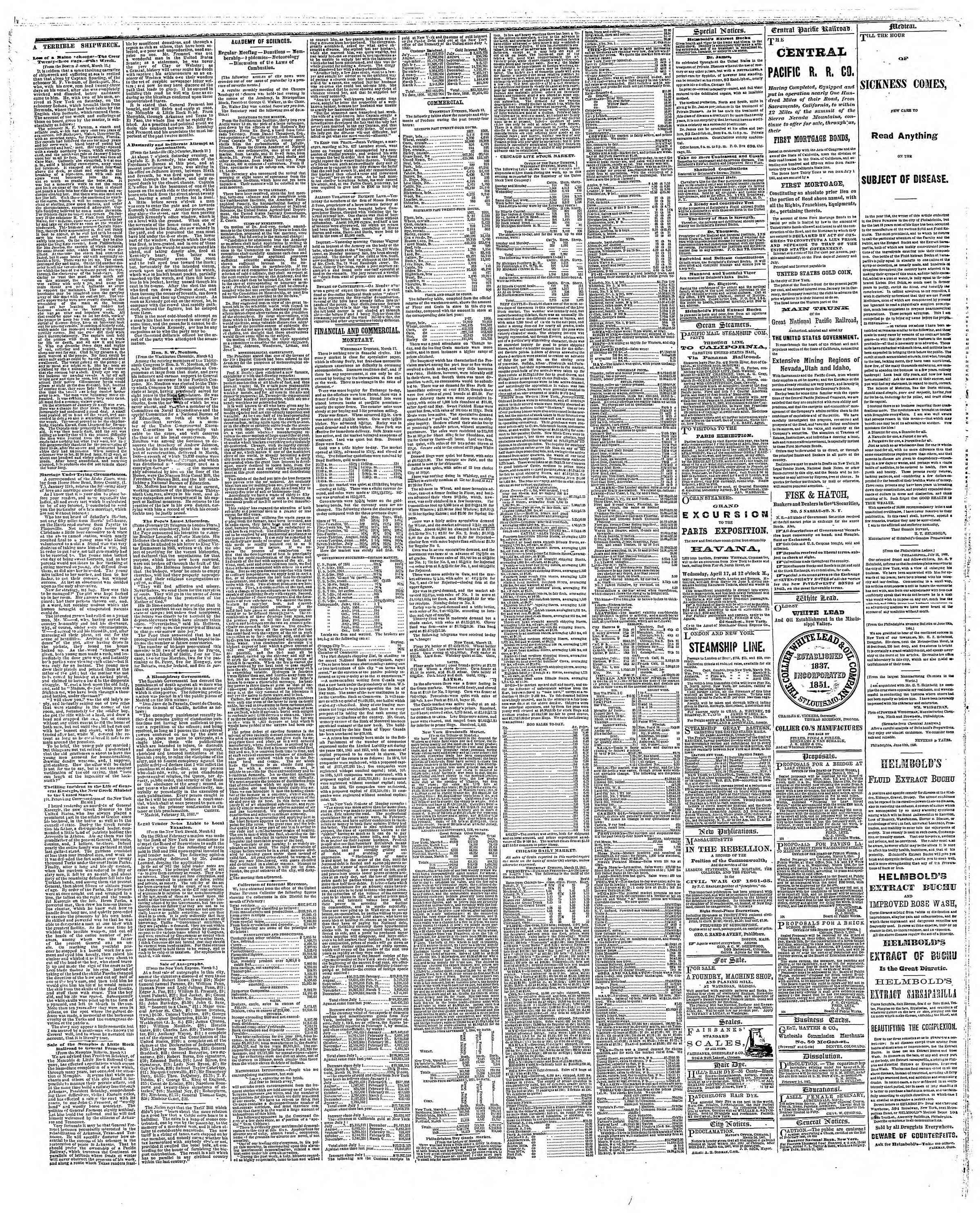 Newspaper of The Chicago Tribune dated March 14, 1867 Page 3
