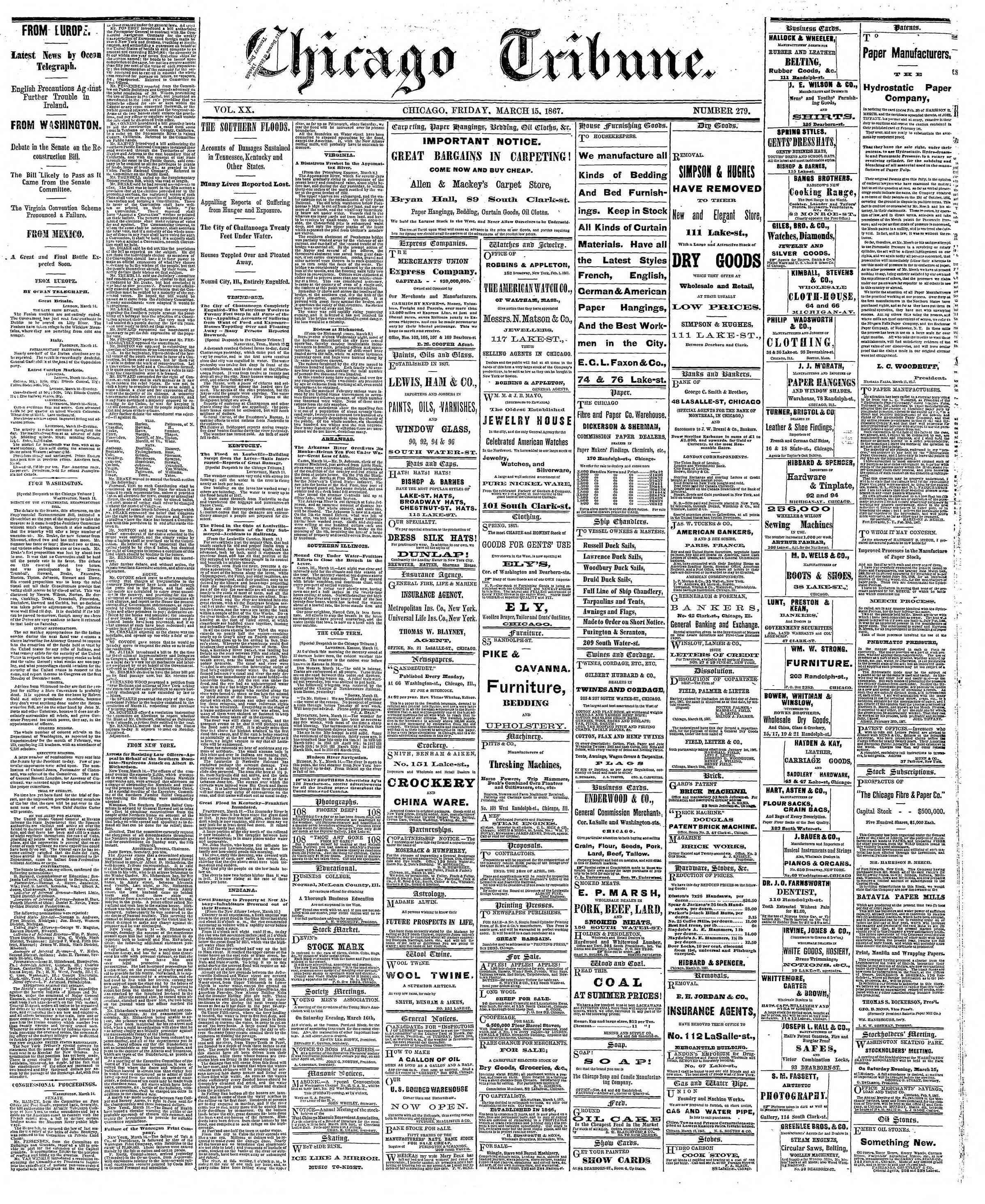 Newspaper of The Chicago Tribune dated March 15, 1867 Page 1