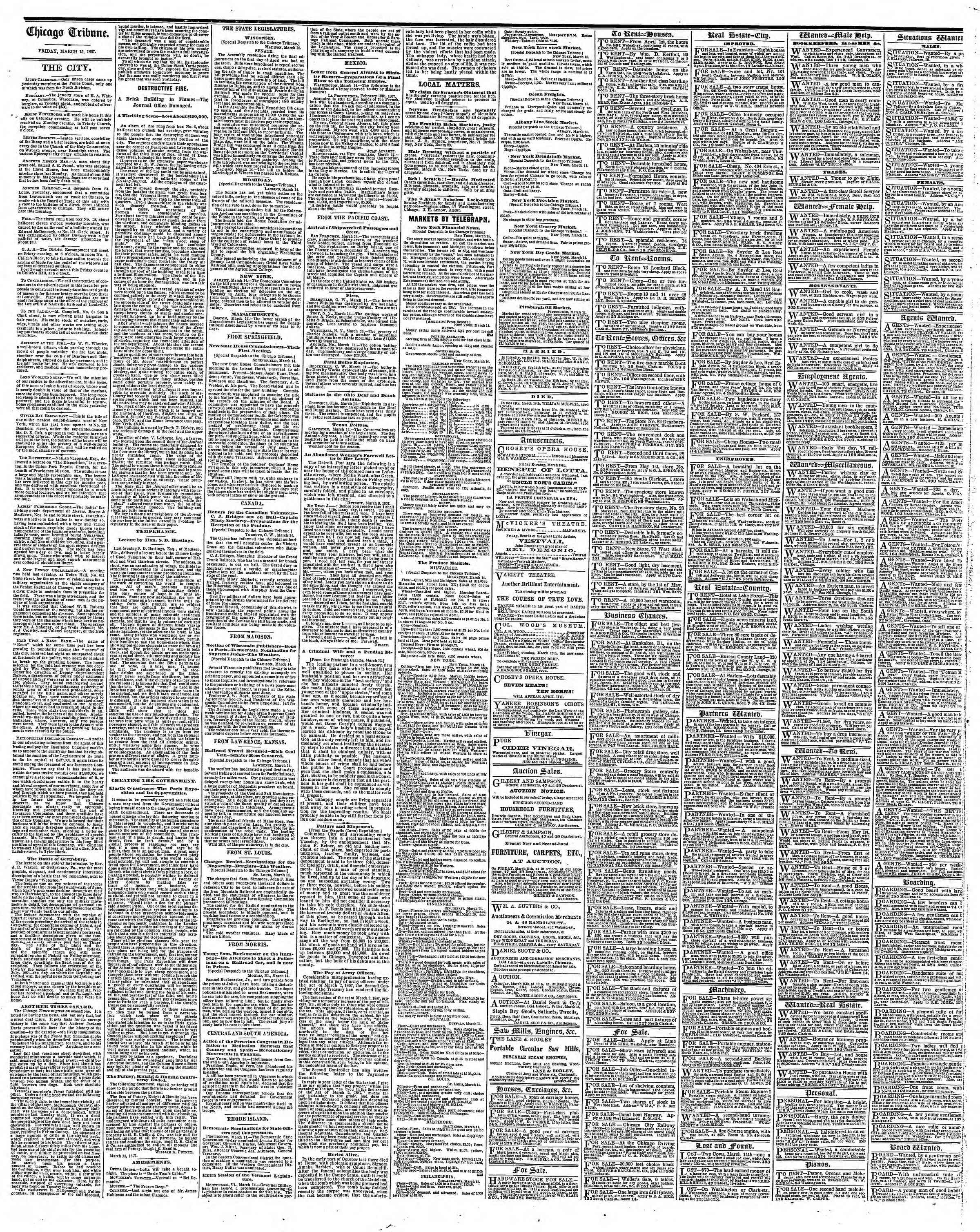 Newspaper of The Chicago Tribune dated March 15, 1867 Page 4