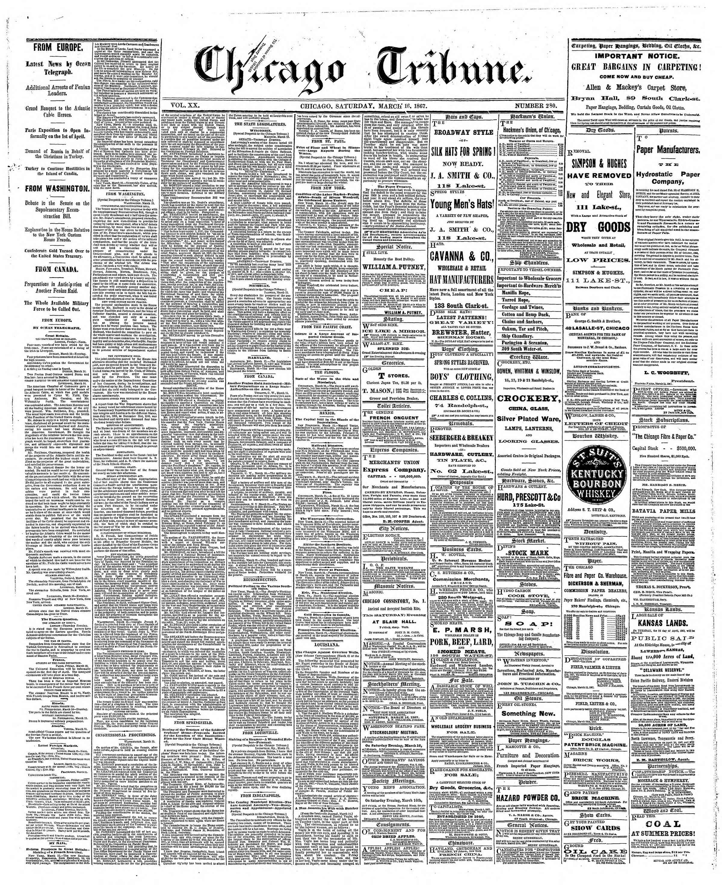 Newspaper of The Chicago Tribune dated March 16, 1867 Page 1