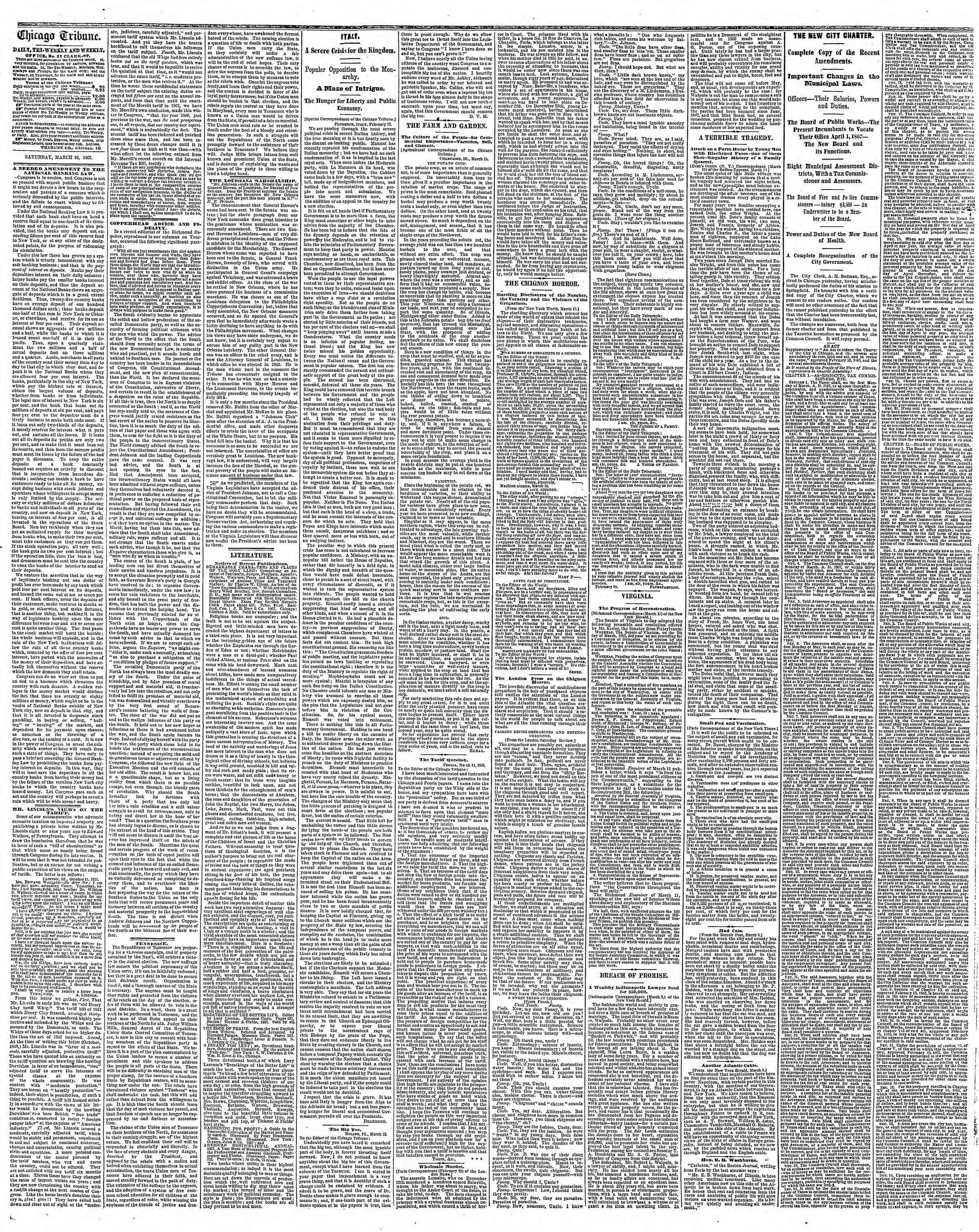 Newspaper of The Chicago Tribune dated March 16, 1867 Page 2