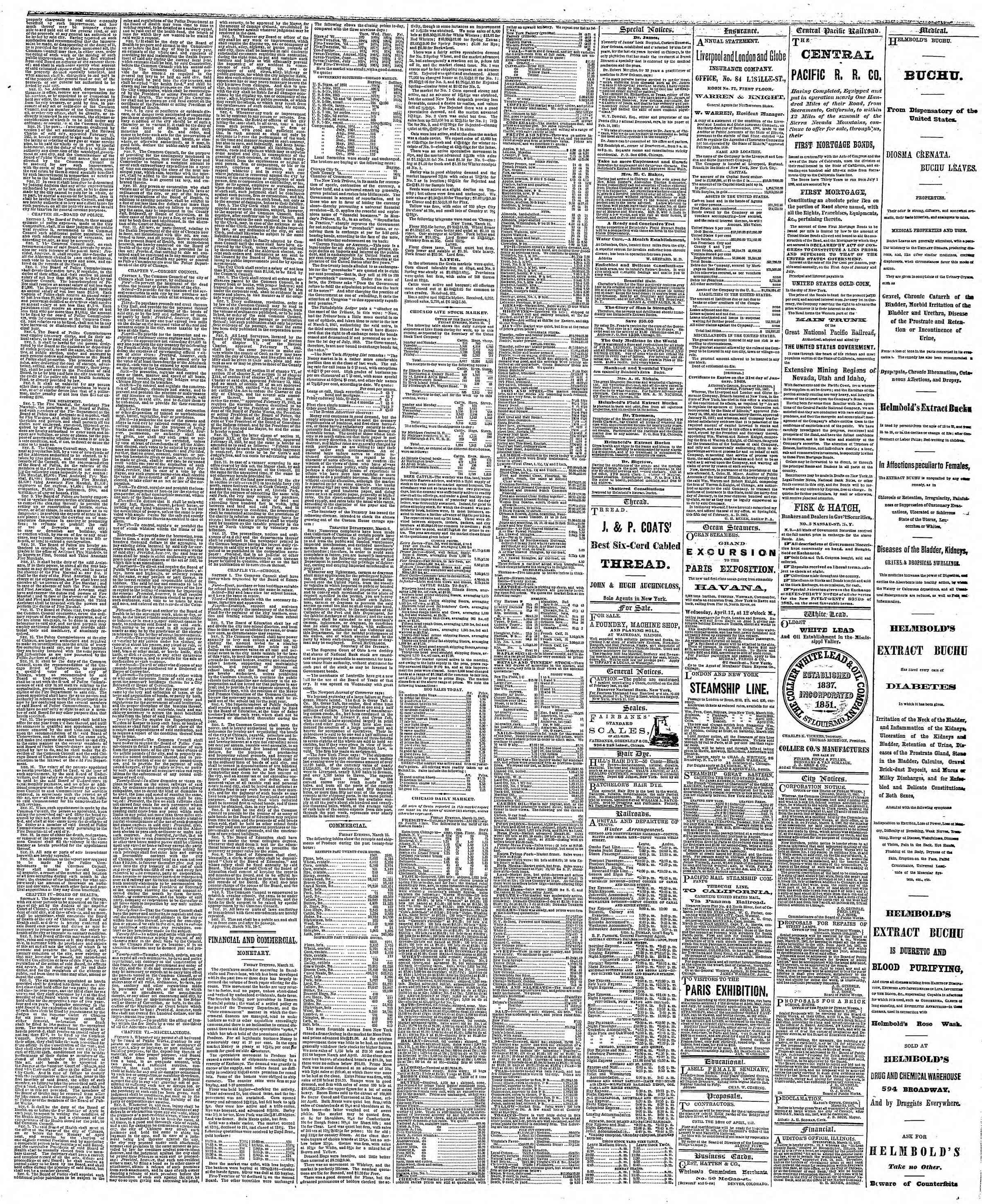 Newspaper of The Chicago Tribune dated March 16, 1867 Page 3