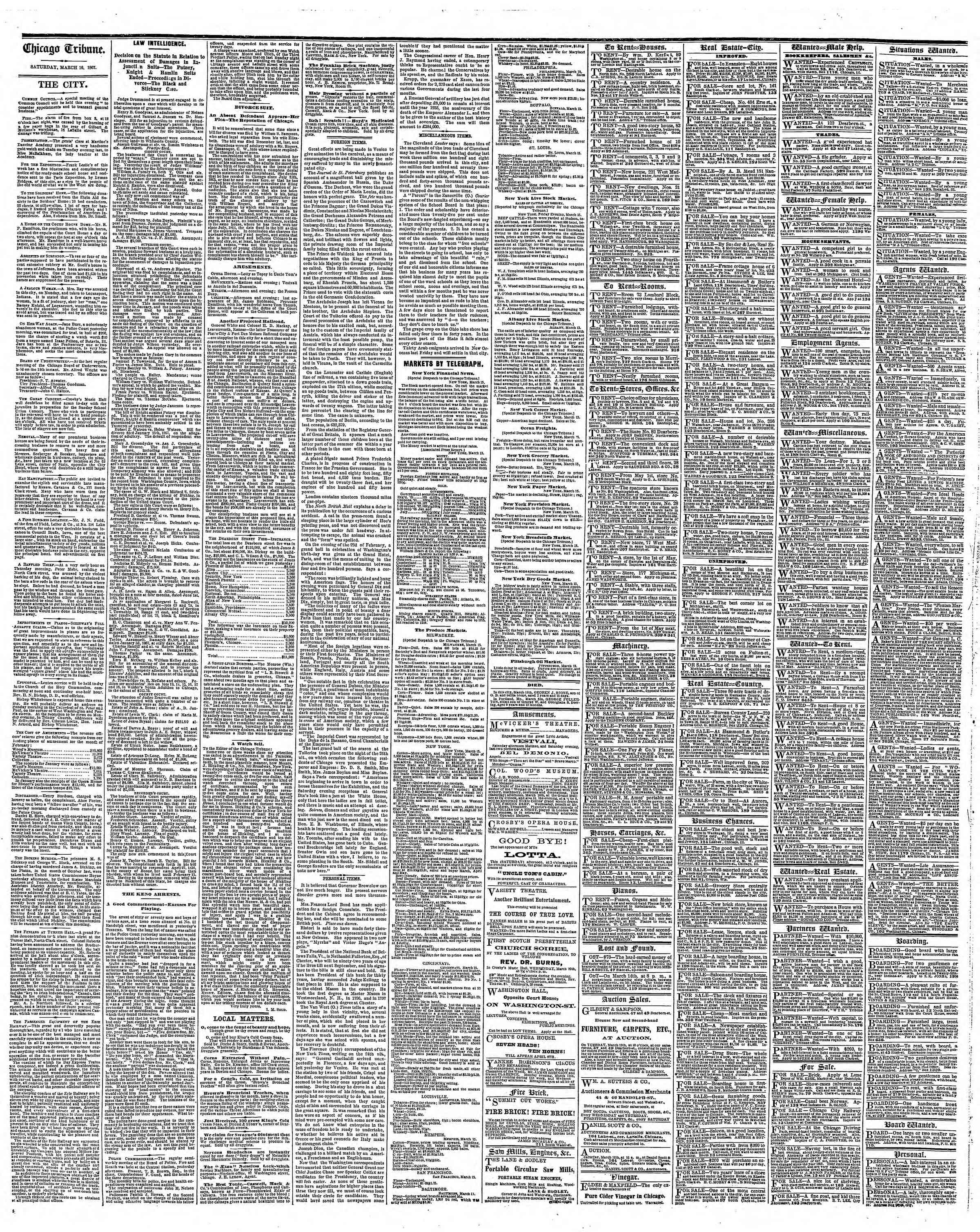 Newspaper of The Chicago Tribune dated March 16, 1867 Page 4