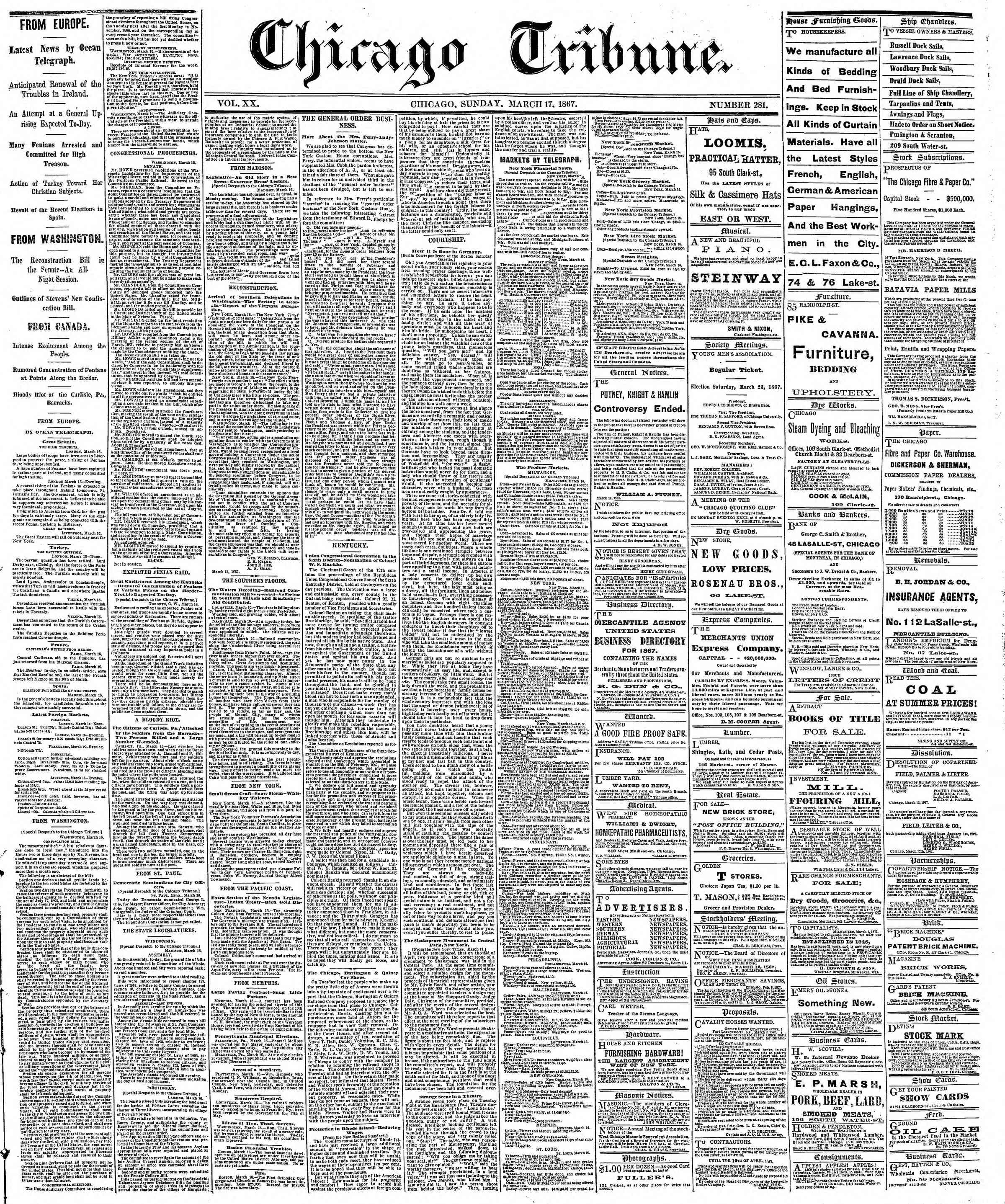 Newspaper of The Chicago Tribune dated March 17, 1867 Page 1