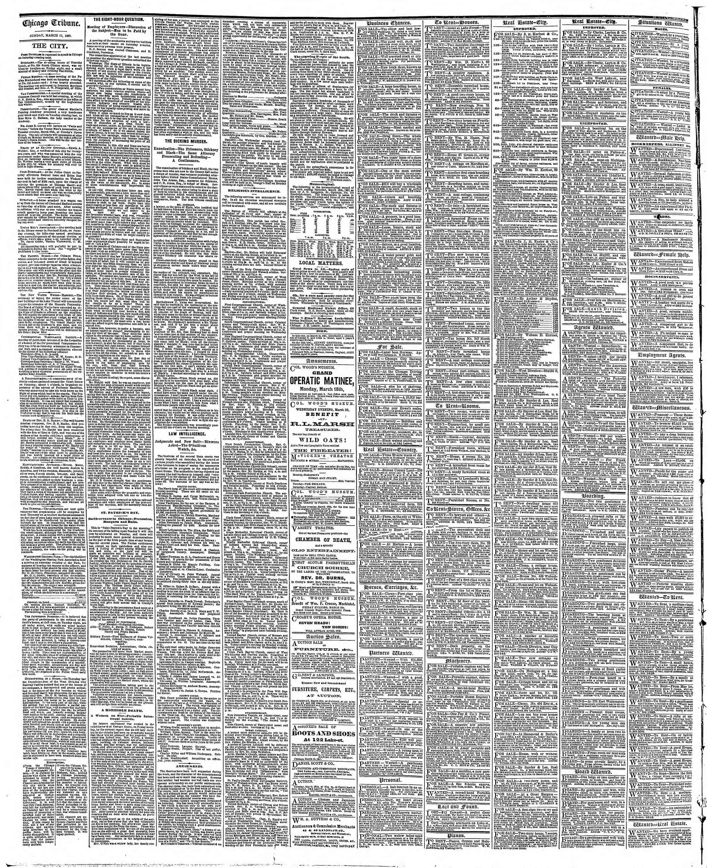 Newspaper of The Chicago Tribune dated March 17, 1867 Page 4