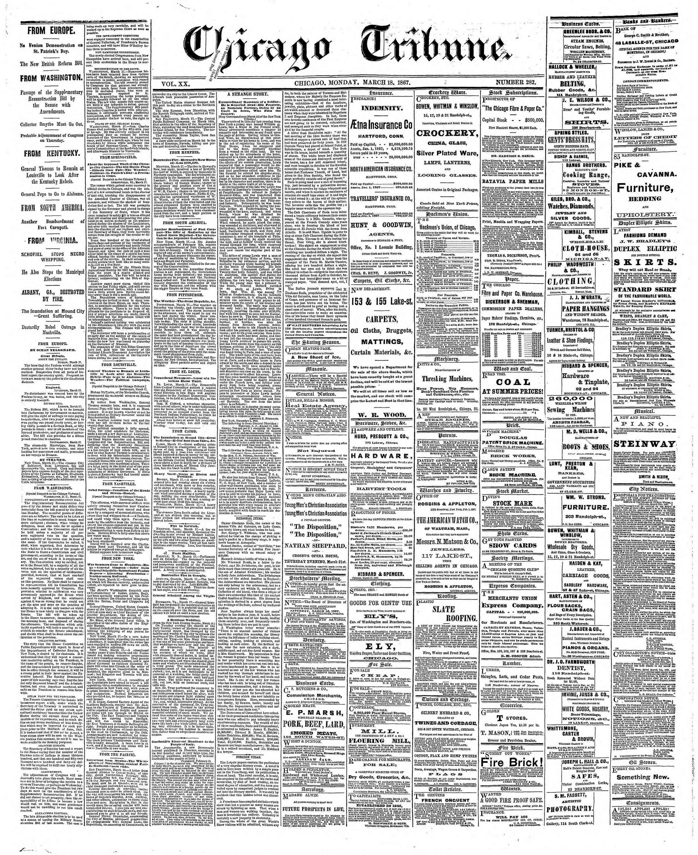 Newspaper of The Chicago Tribune dated March 18, 1867 Page 1