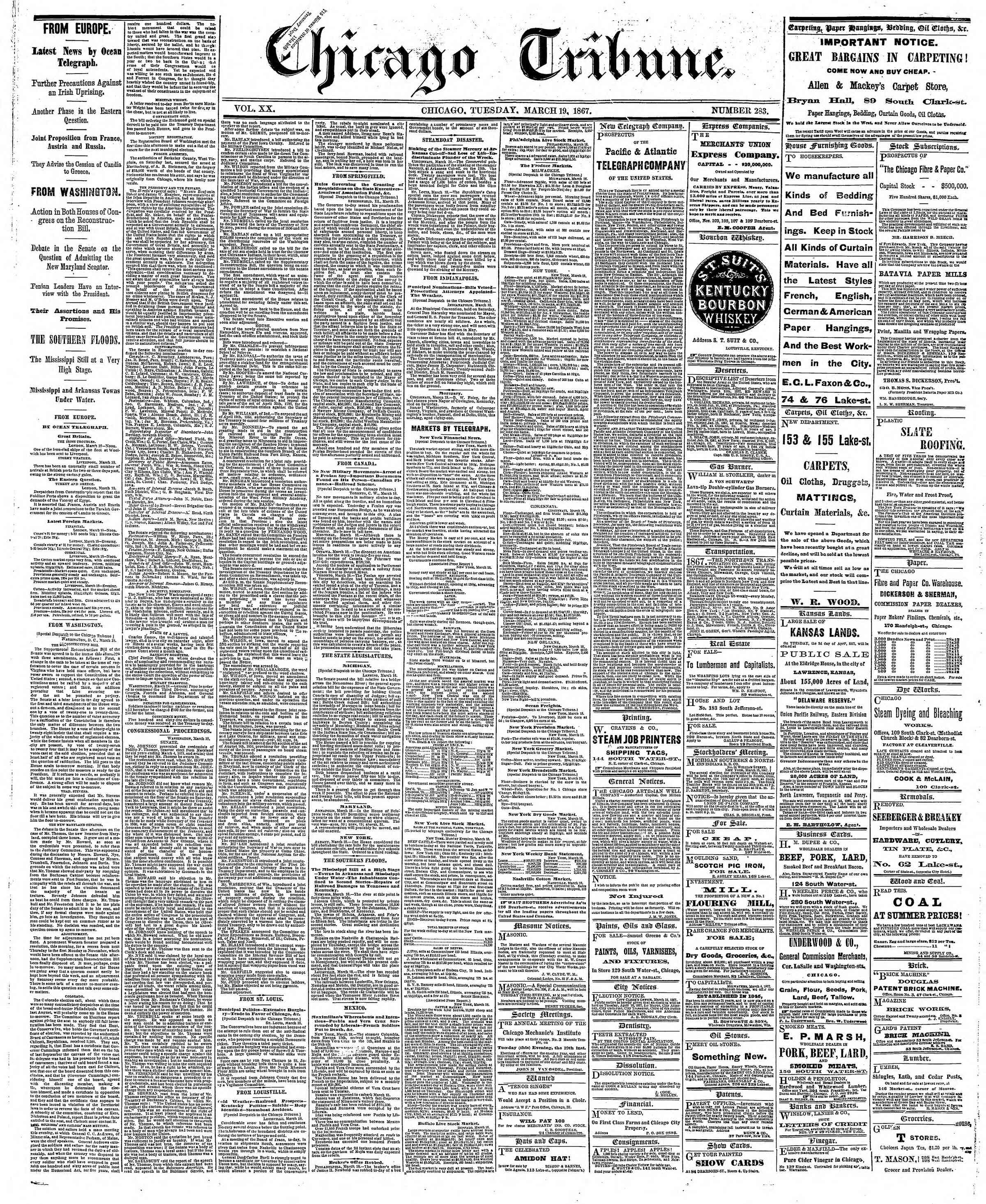 Newspaper of The Chicago Tribune dated March 19, 1867 Page 1