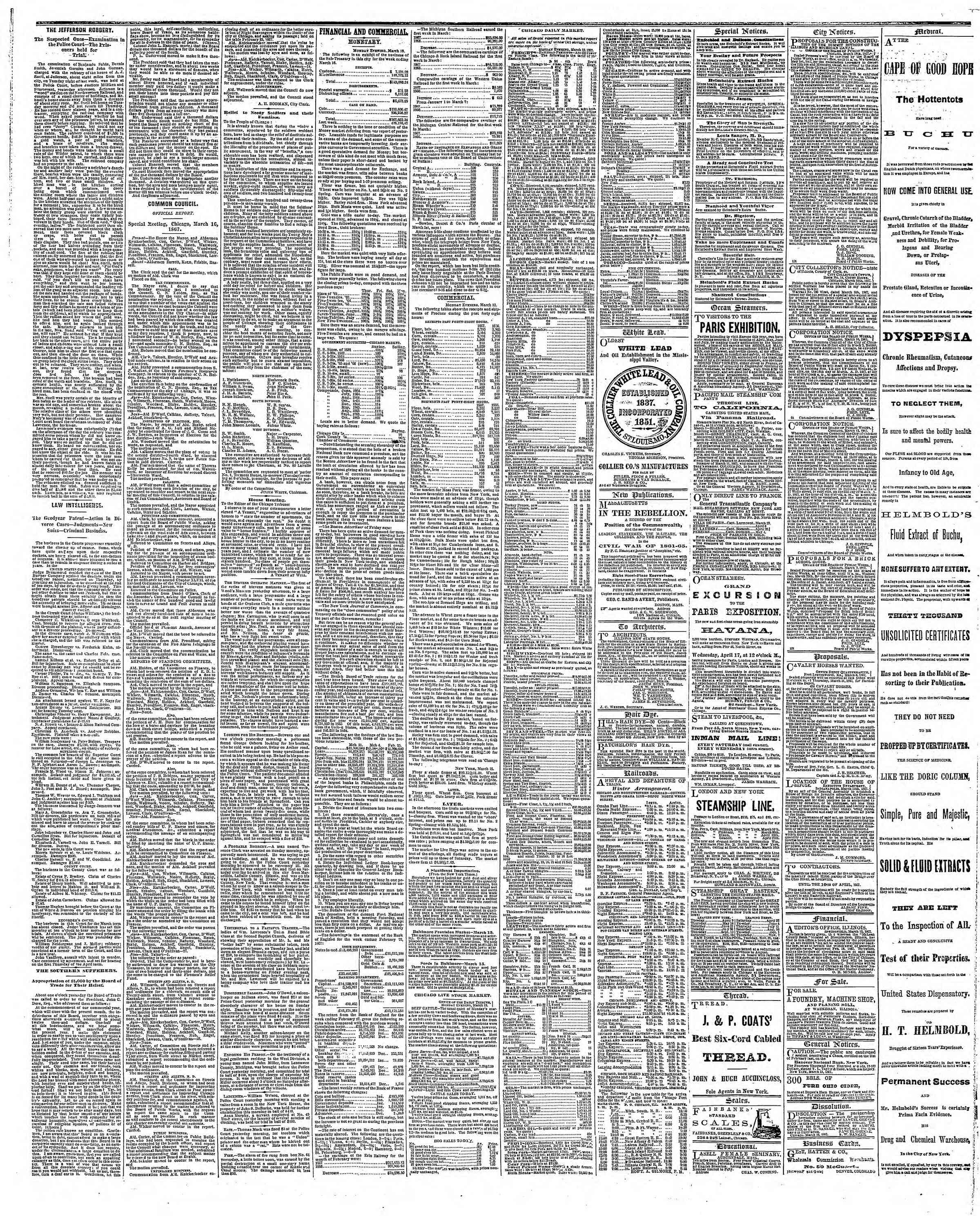 Newspaper of The Chicago Tribune dated March 19, 1867 Page 3