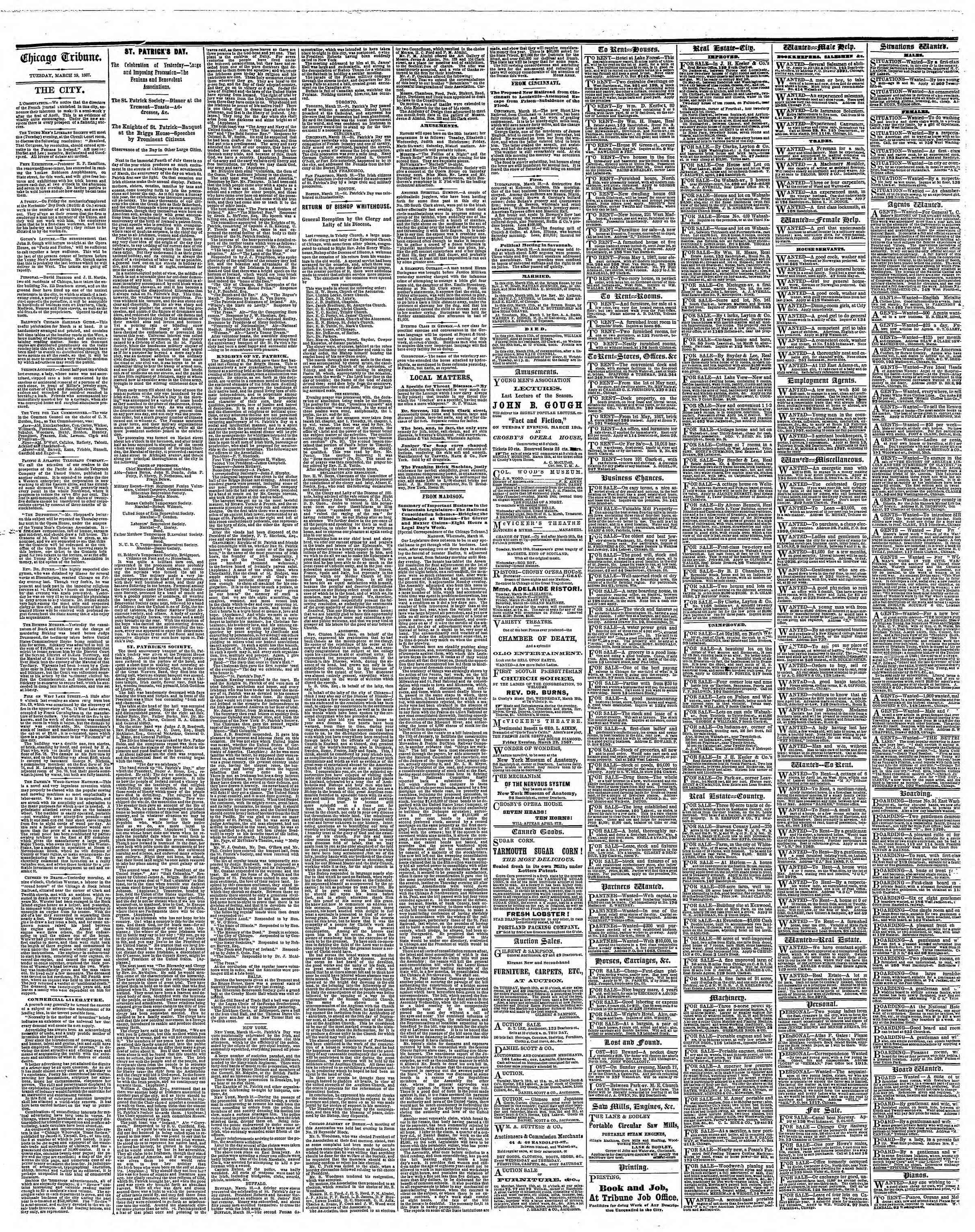 Newspaper of The Chicago Tribune dated March 19, 1867 Page 4